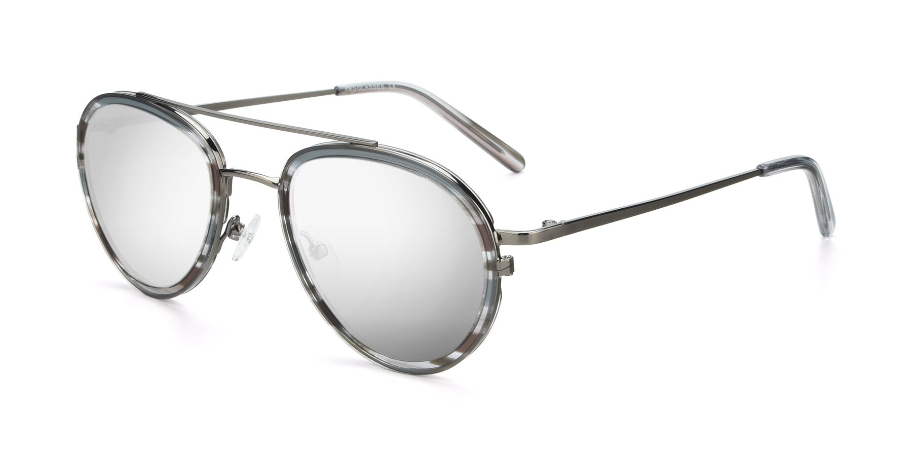 Angle of 9554 in Gun-Transparent with Silver Mirrored Lenses
