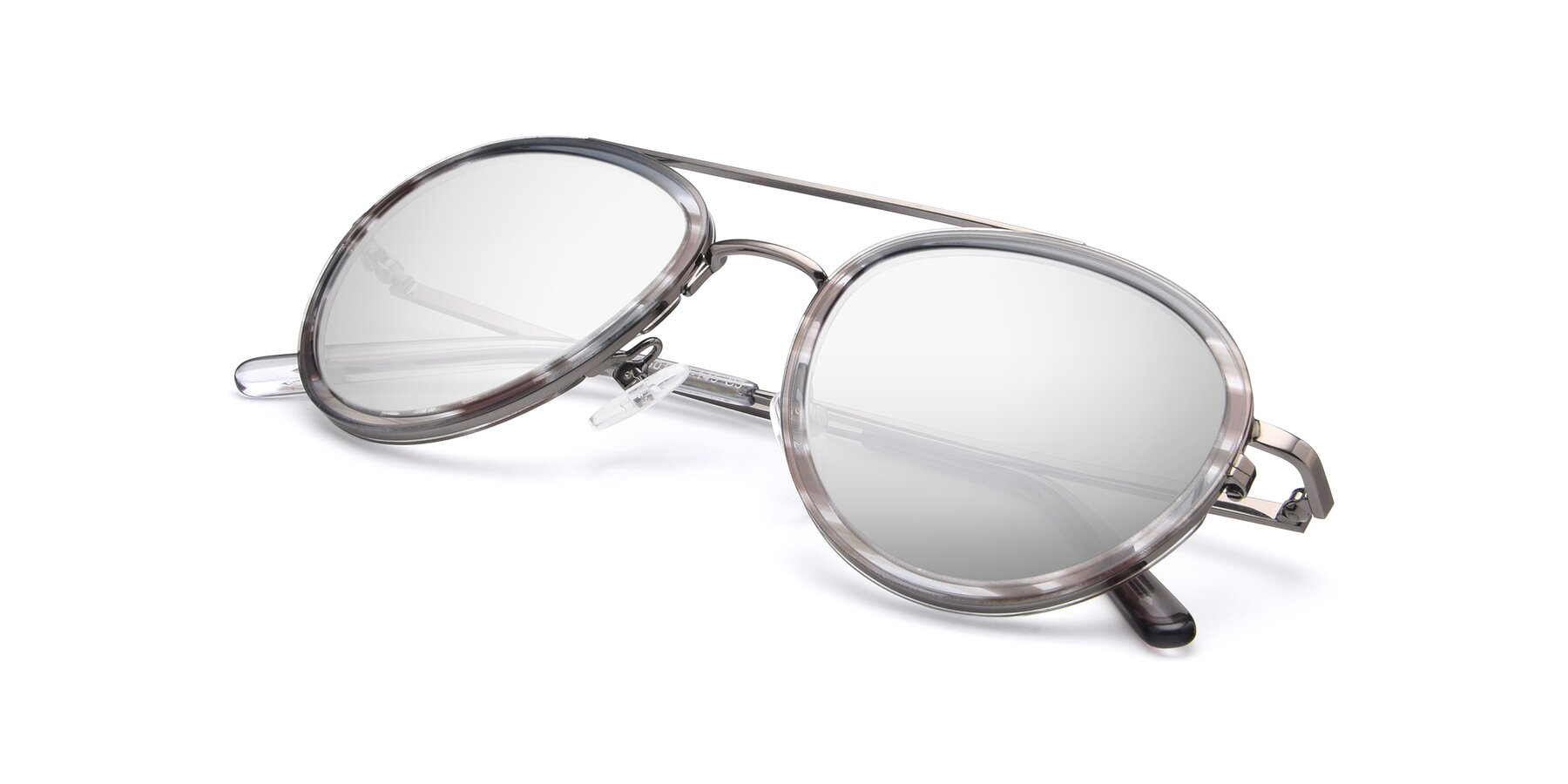 View of 9554 in Gun-Transparent with Silver Mirrored Lenses