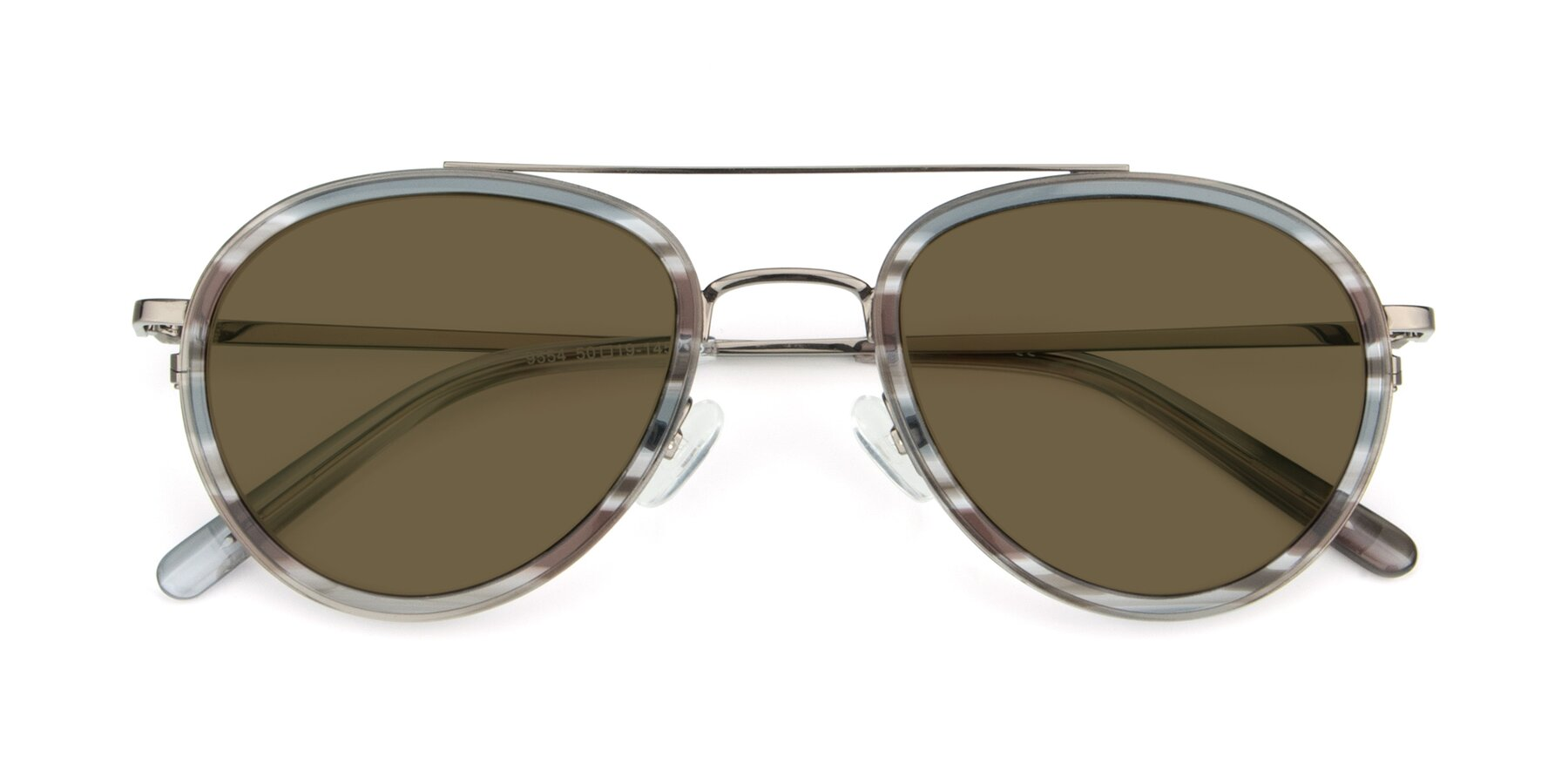 Folded Front of 9554 in Gun-Transparent with Brown Polarized Lenses