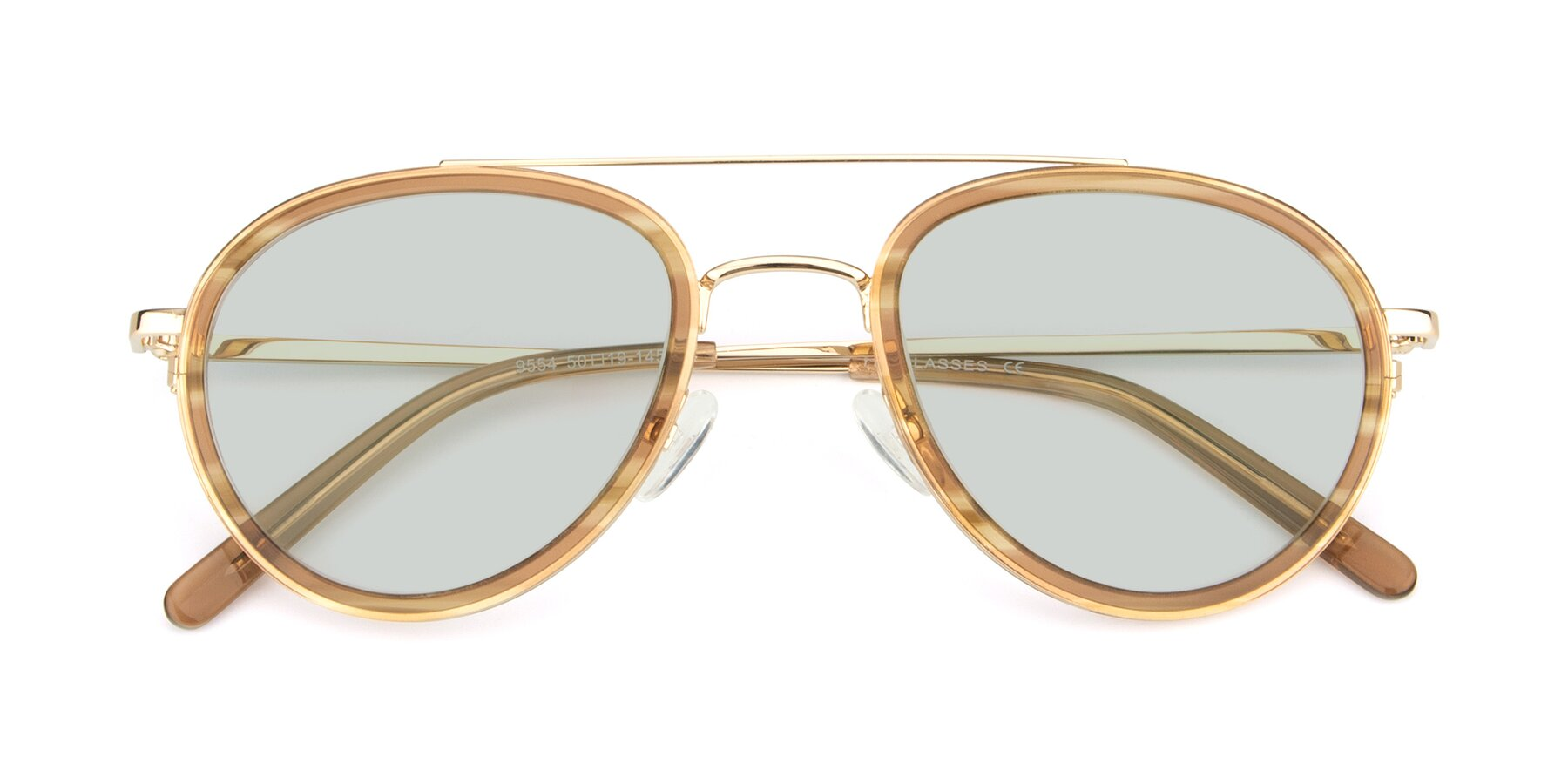 Folded Front of 9554 in Gold-Caramel with Light Green Tinted Lenses
