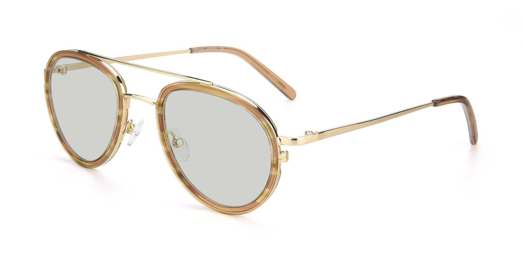 Angle of 9554 in Gold-Caramel with Light Green Tinted Lenses
