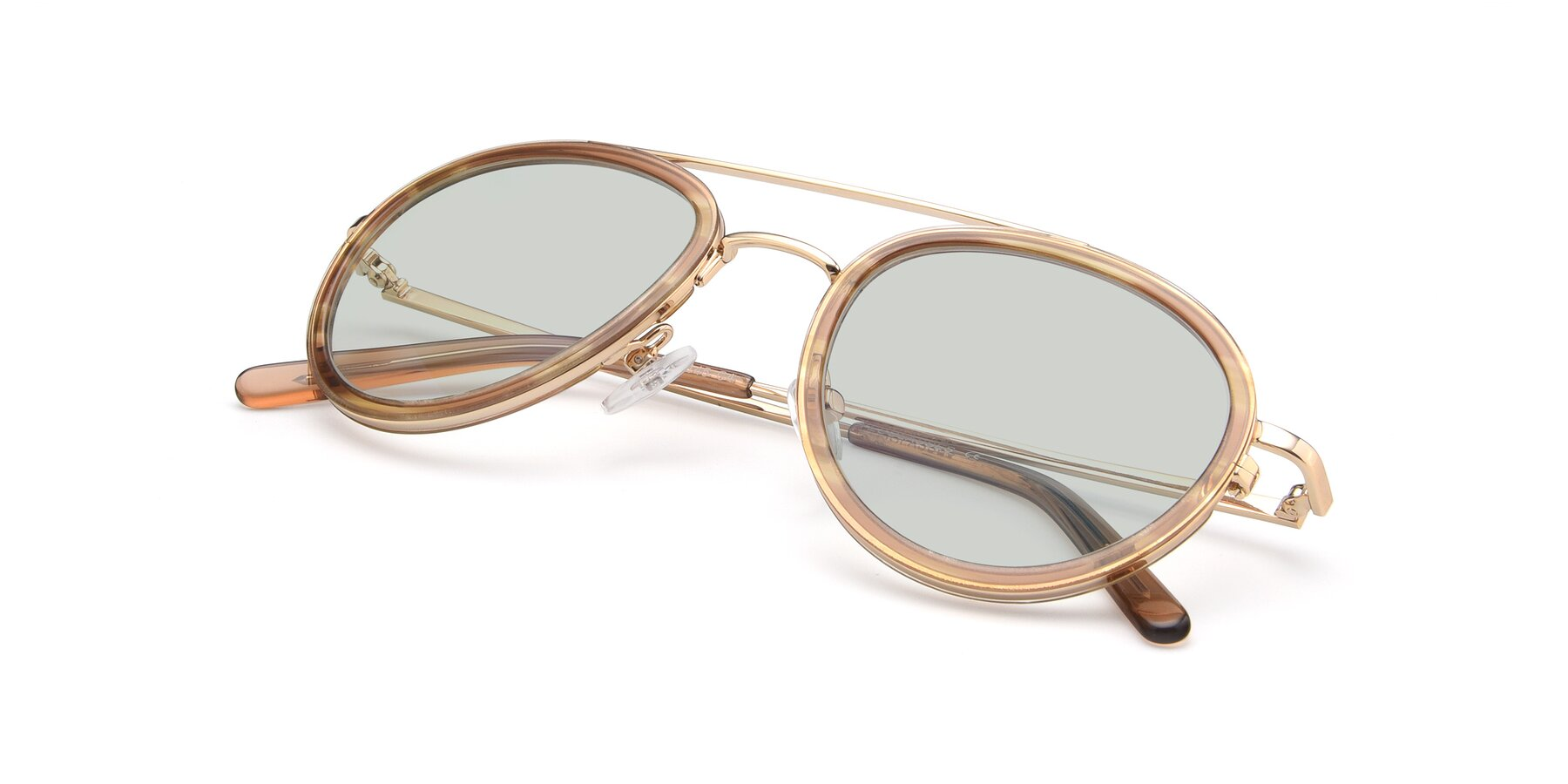 View of 9554 in Gold-Caramel with Light Green Tinted Lenses