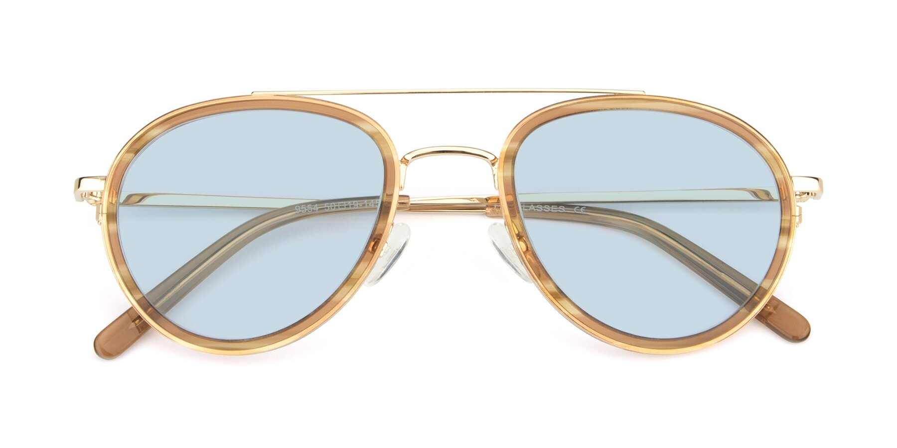 Folded Front of 9554 in Gold-Caramel with Light Blue Tinted Lenses