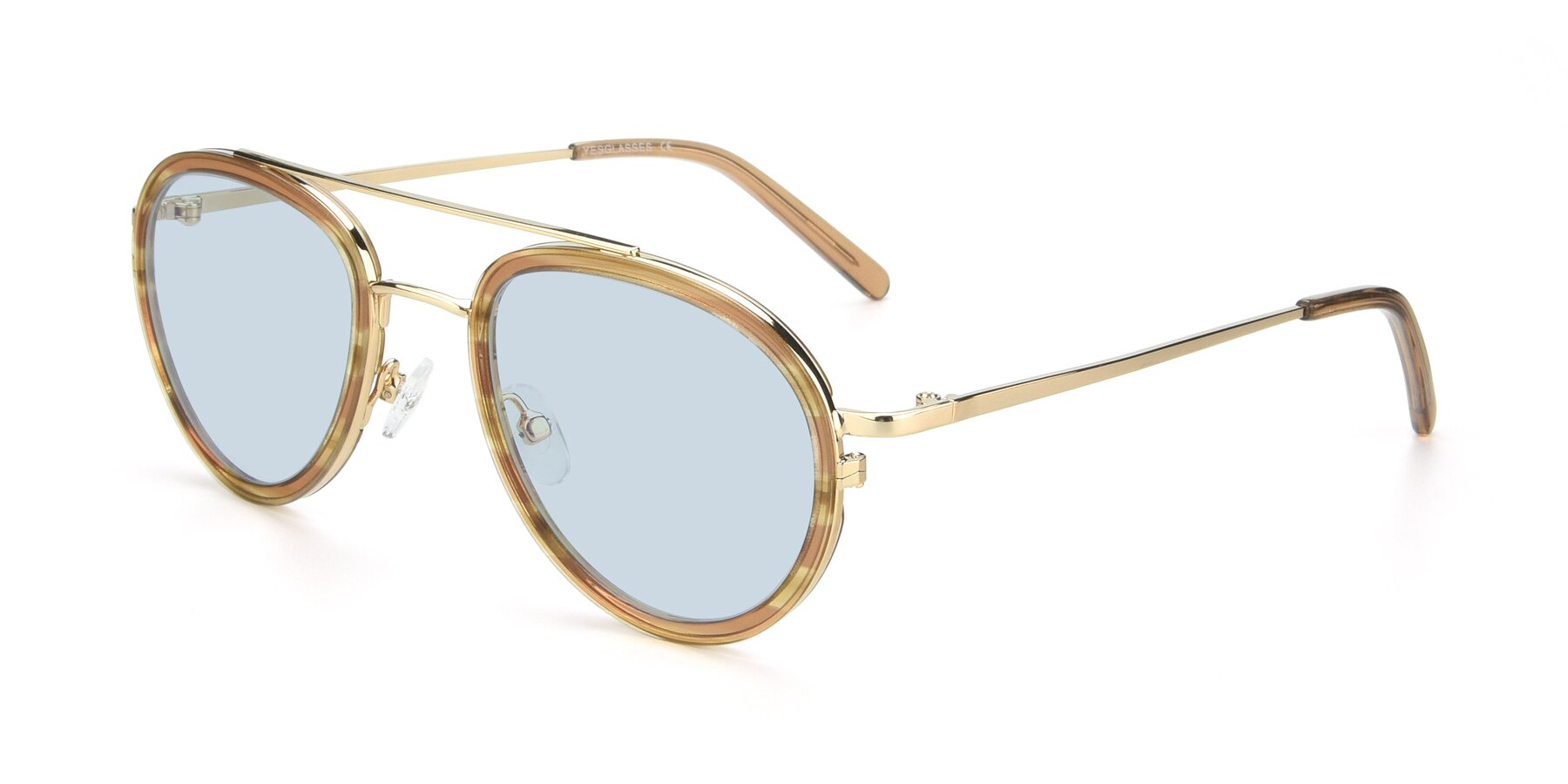Angle of 9554 in Gold-Caramel with Light Blue Tinted Lenses