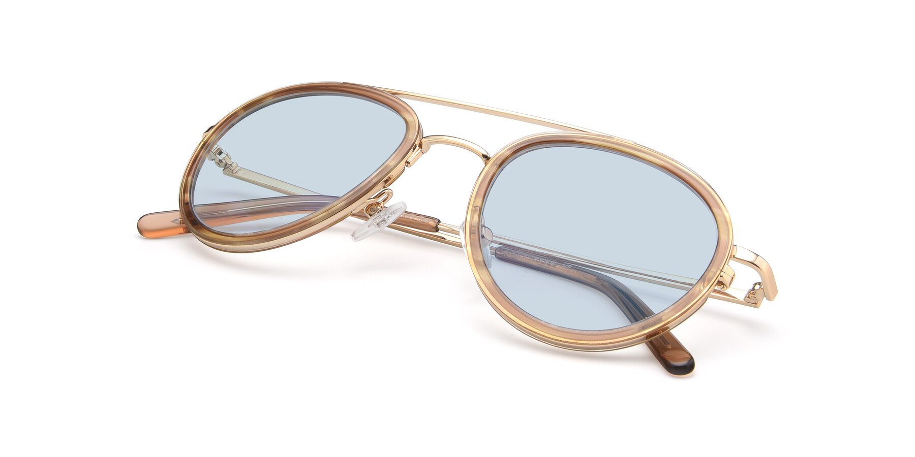 View of 9554 in Gold-Caramel with Light Blue Tinted Lenses