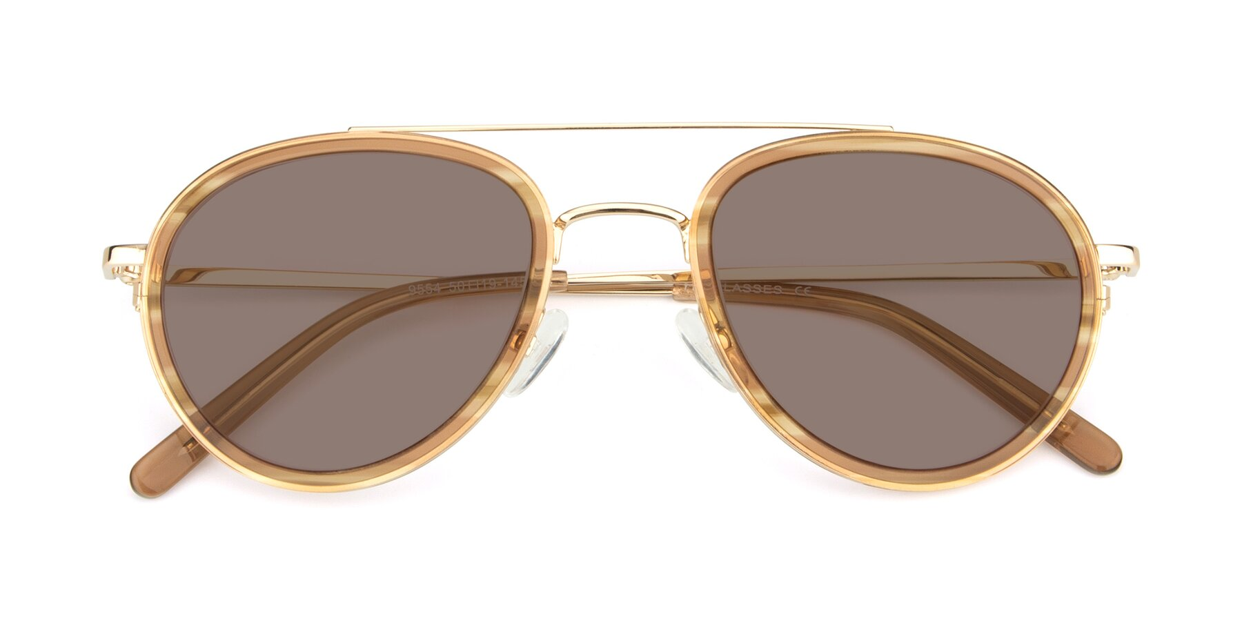 Folded Front of 9554 in Gold-Caramel with Medium Brown Tinted Lenses