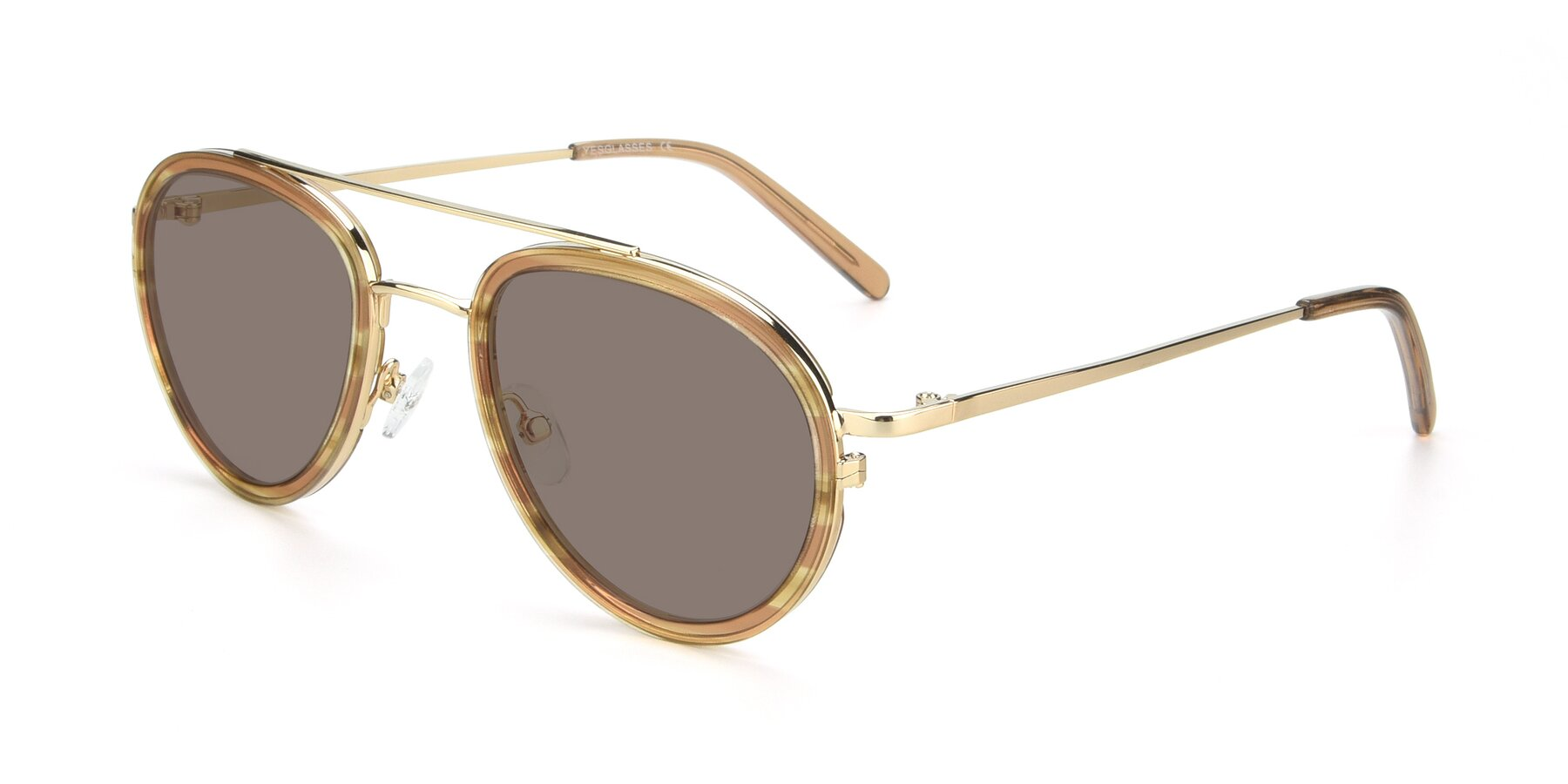 Angle of 9554 in Gold-Caramel with Medium Brown Tinted Lenses