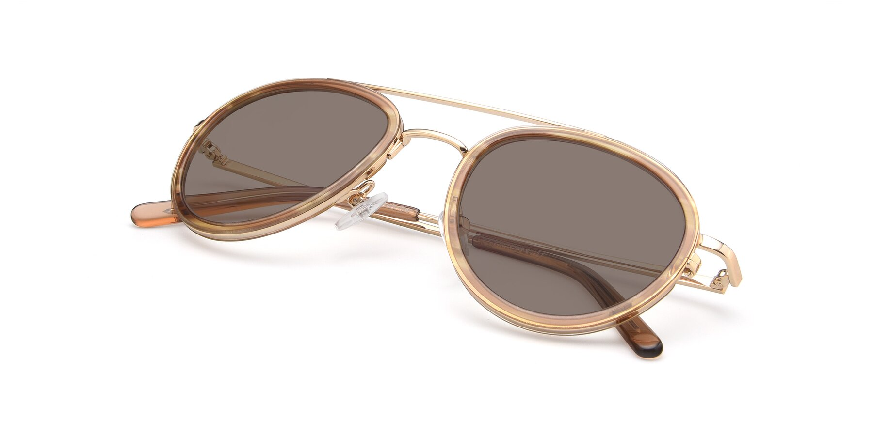 View of 9554 in Gold-Caramel with Medium Brown Tinted Lenses