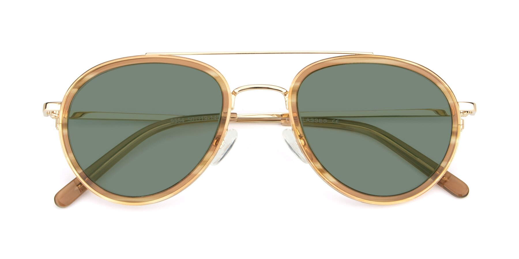Folded Front of 9554 in Gold-Caramel with Medium Green Tinted Lenses