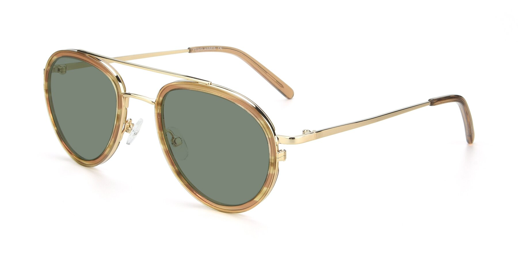 Angle of 9554 in Gold-Caramel with Medium Green Tinted Lenses