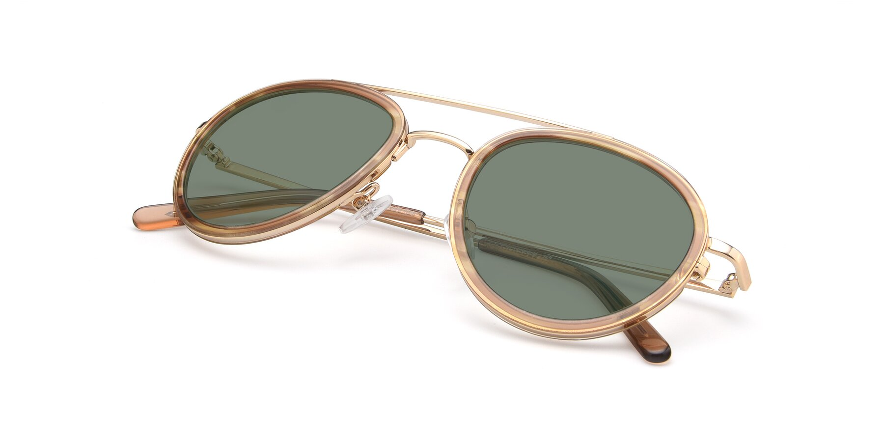 View of 9554 in Gold-Caramel with Medium Green Tinted Lenses