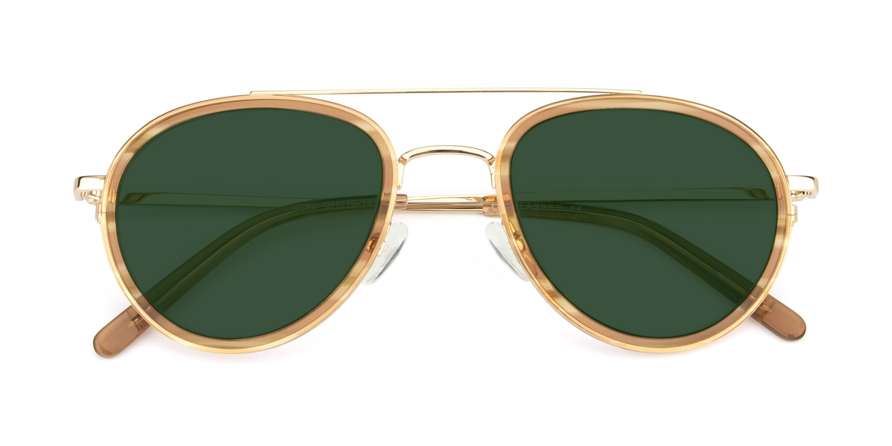 Folded Front of 9554 in Gold-Caramel with Green Tinted Lenses