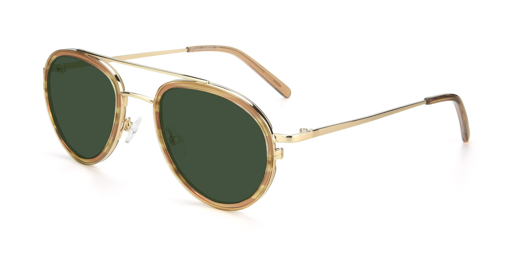 Angle of 9554 in Gold-Caramel with Green Tinted Lenses