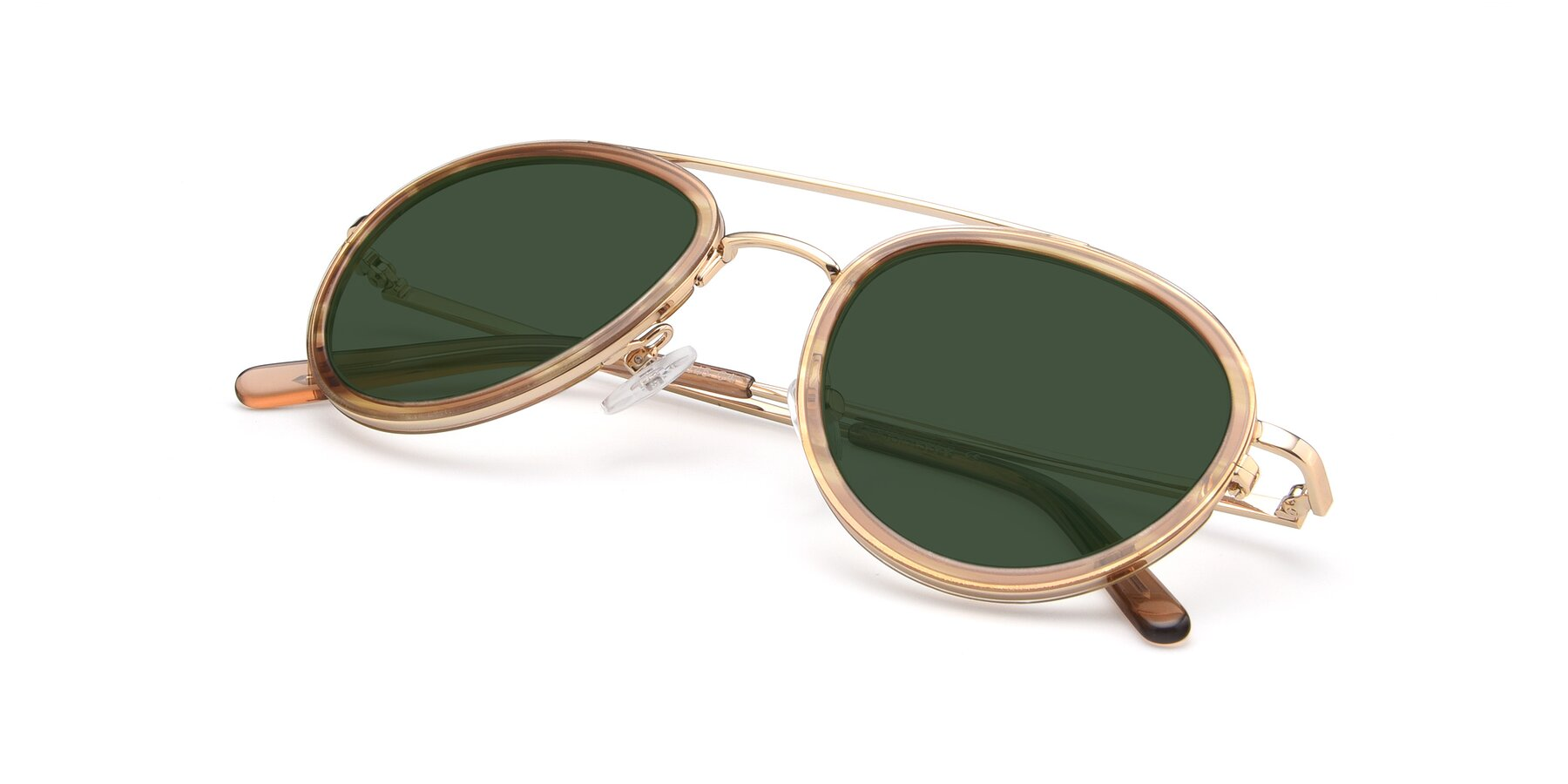 View of 9554 in Gold-Caramel with Green Tinted Lenses