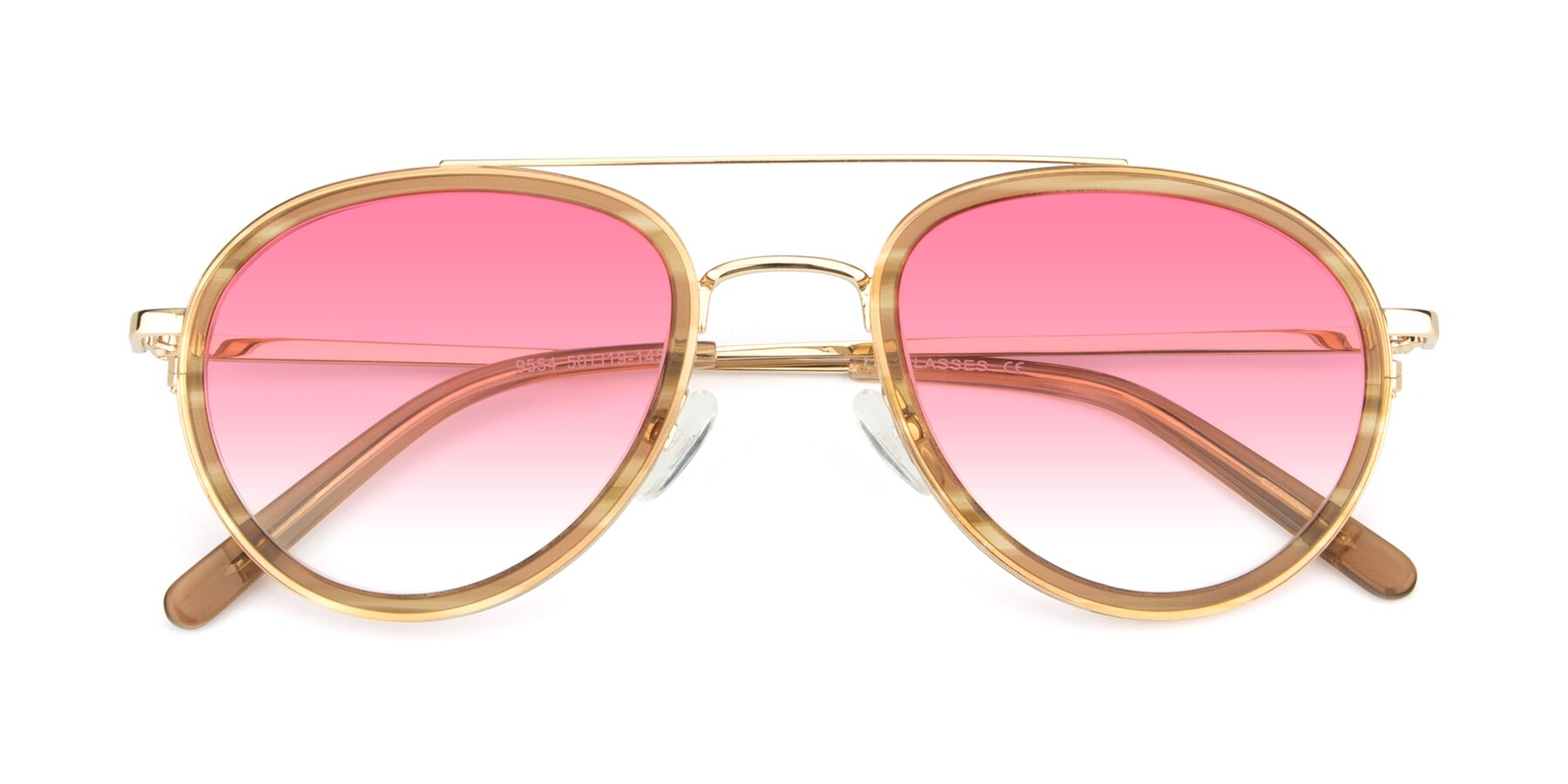 Folded Front of 9554 in Gold-Caramel with Pink Gradient Lenses