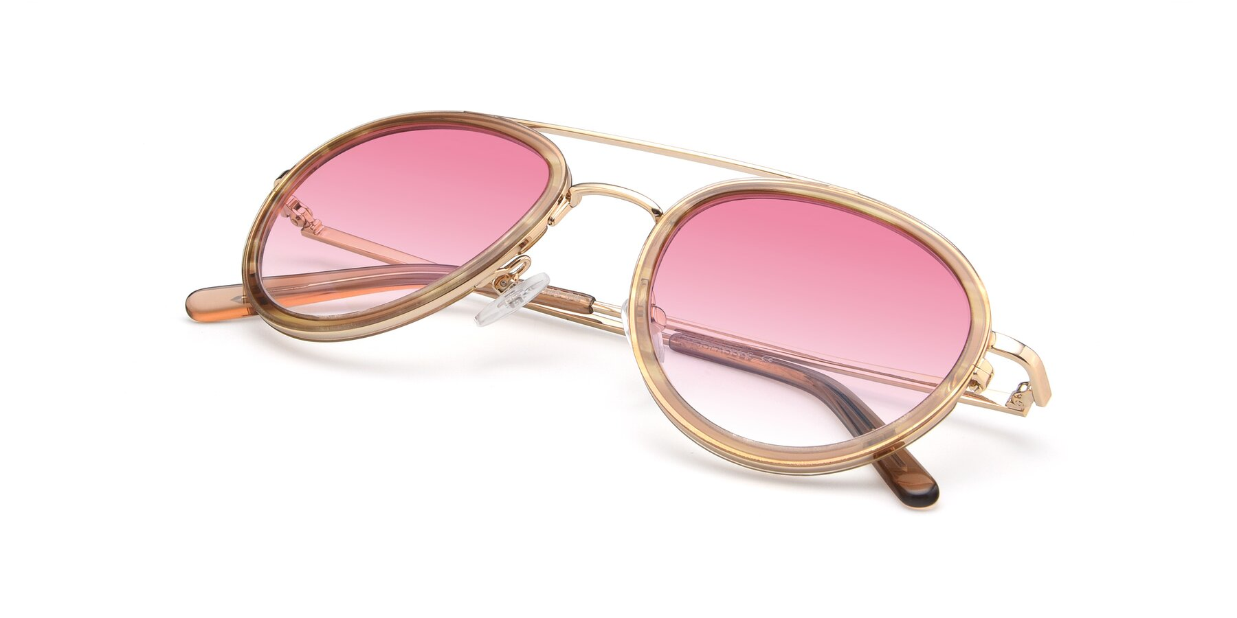 View of 9554 in Gold-Caramel with Pink Gradient Lenses