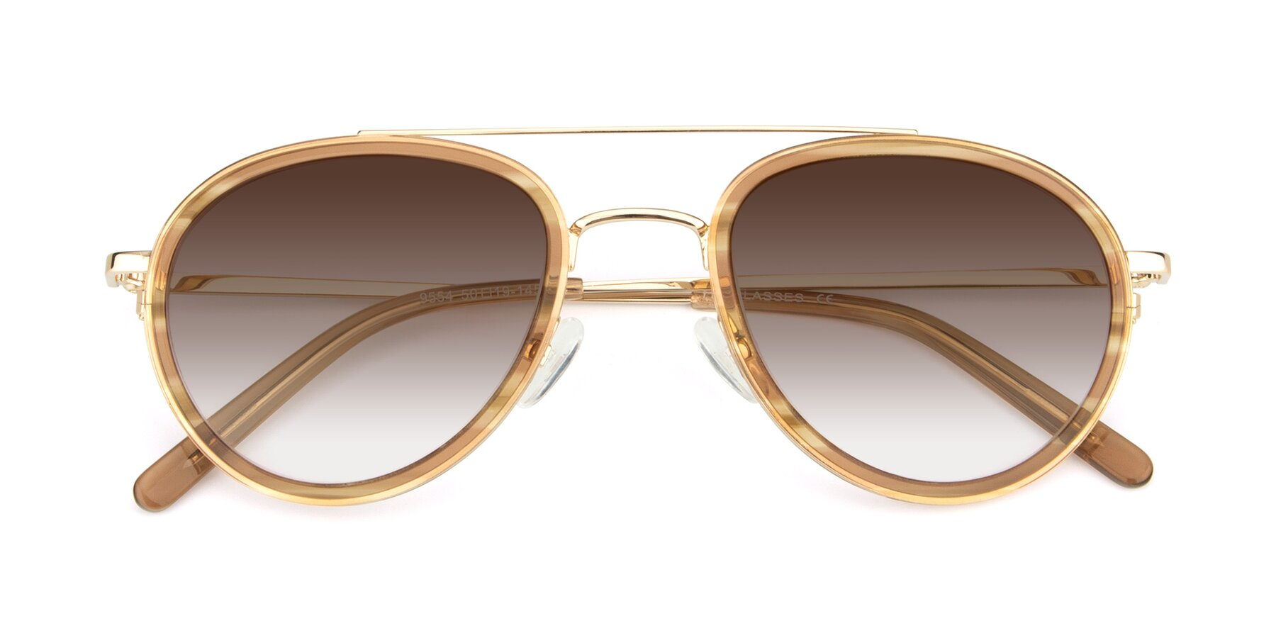 Folded Front of 9554 in Gold-Caramel with Brown Gradient Lenses