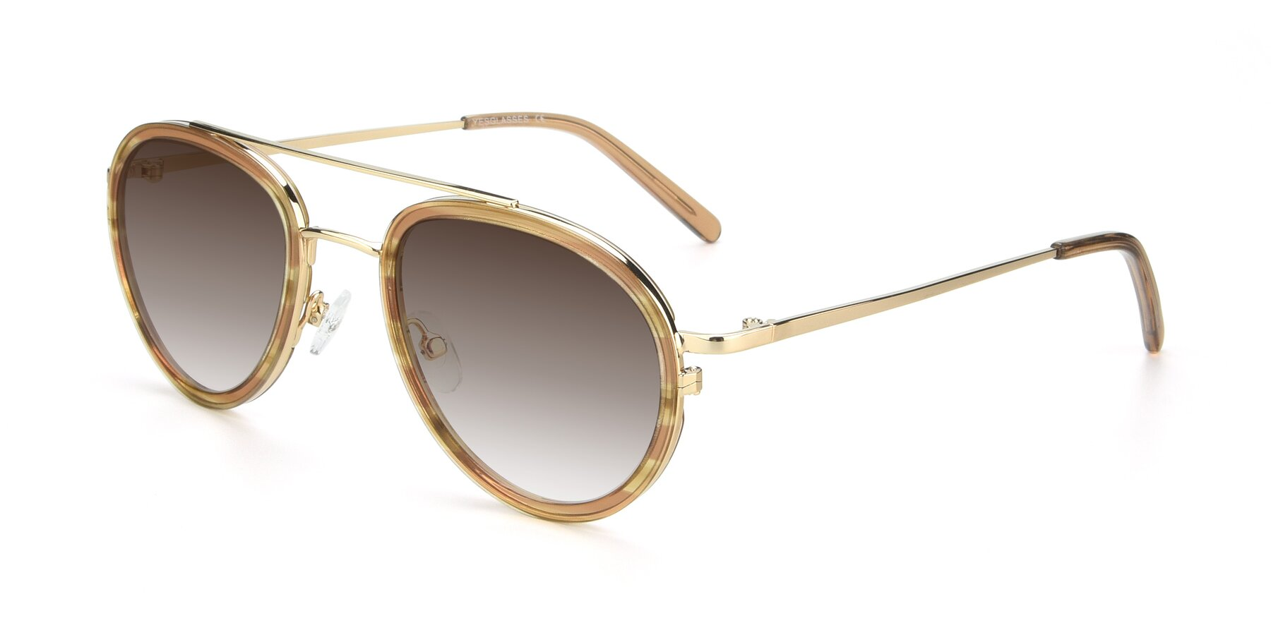 Angle of 9554 in Gold-Caramel with Brown Gradient Lenses