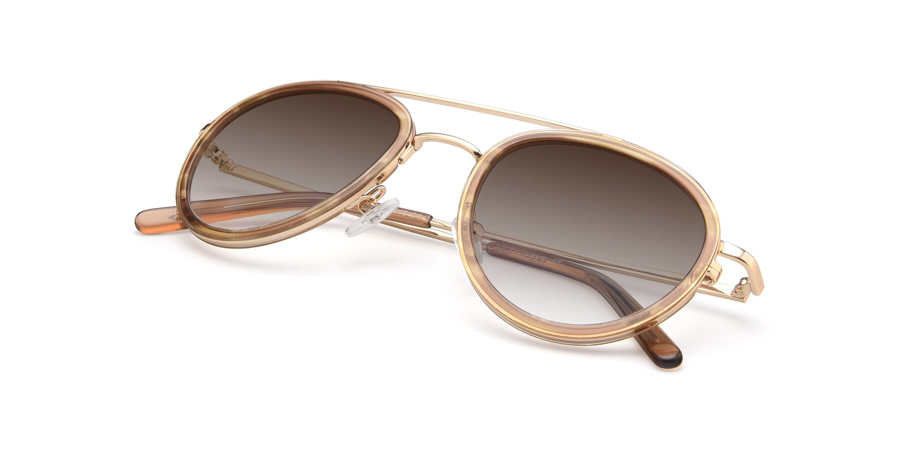 View of 9554 in Gold-Caramel with Brown Gradient Lenses