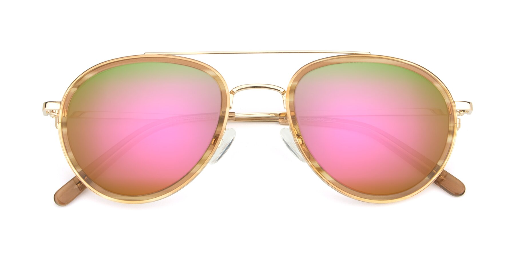 Folded Front of 9554 in Gold-Caramel with Pink Mirrored Lenses