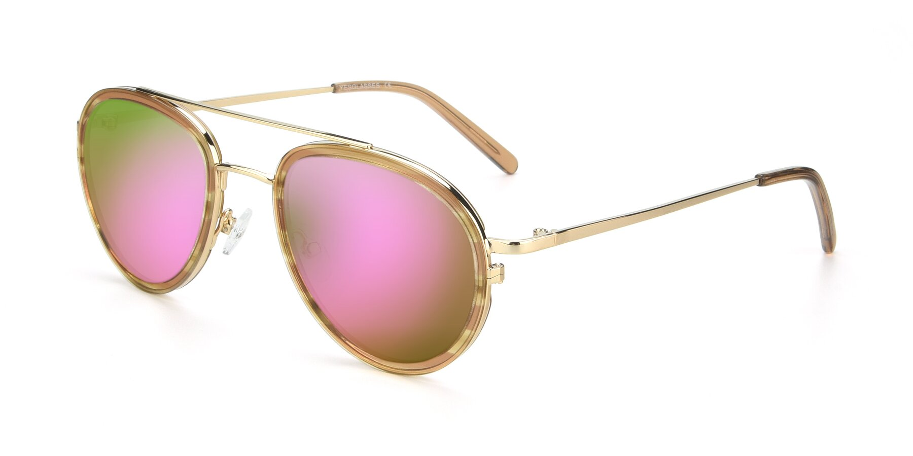 Angle of 9554 in Gold-Caramel with Pink Mirrored Lenses