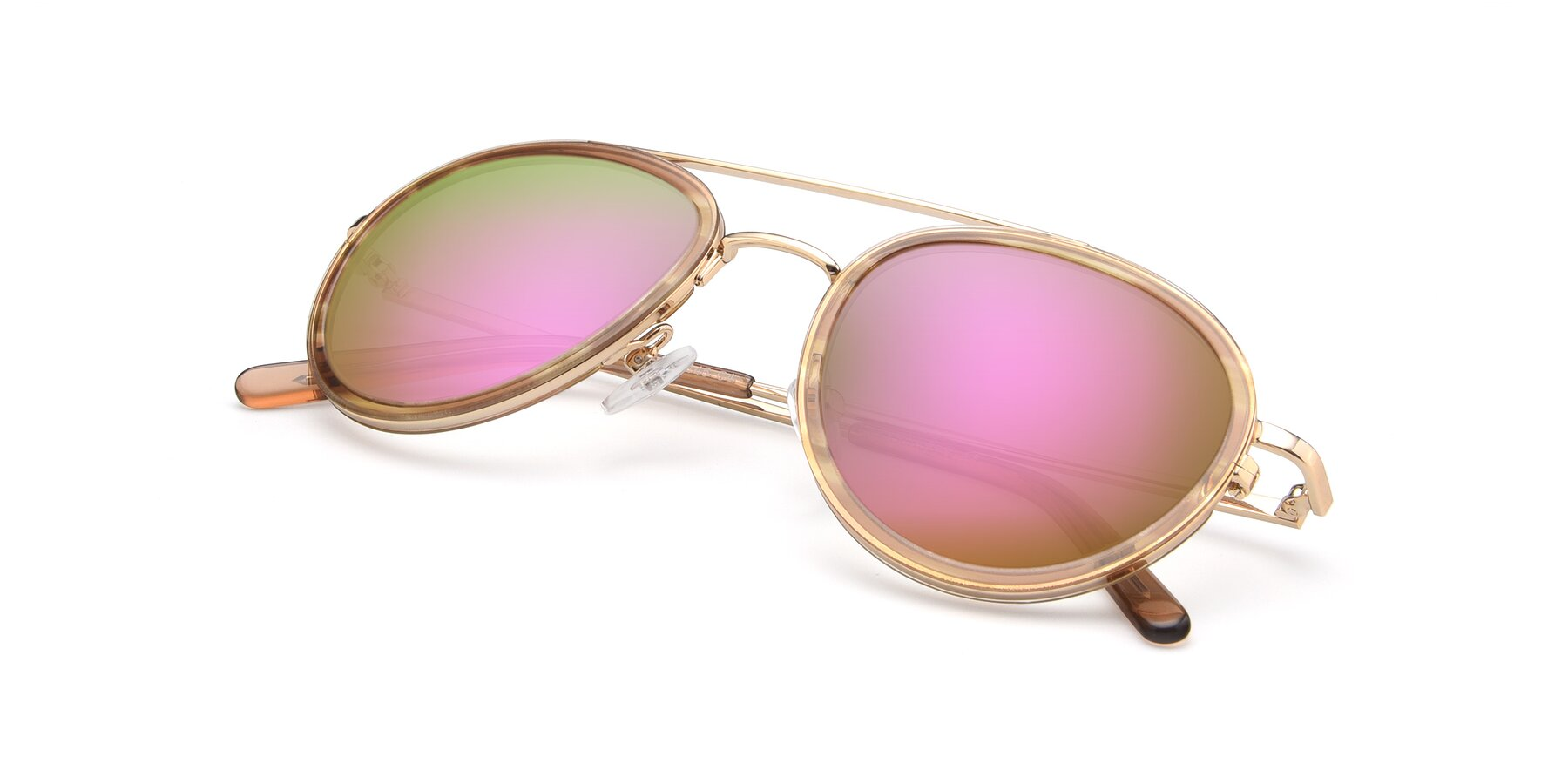 View of 9554 in Gold-Caramel with Pink Mirrored Lenses
