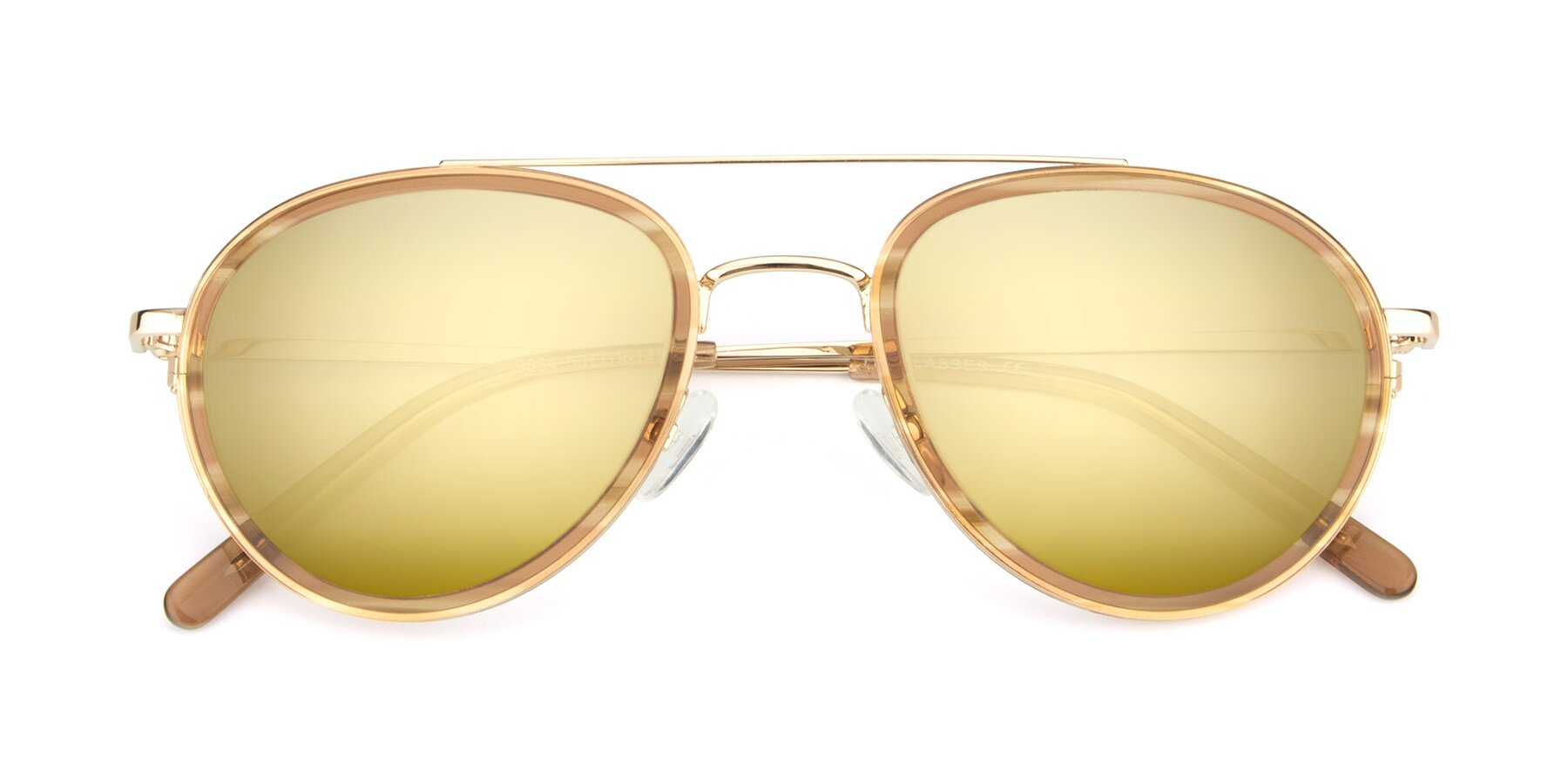 Folded Front of 9554 in Gold-Caramel with Gold Mirrored Lenses