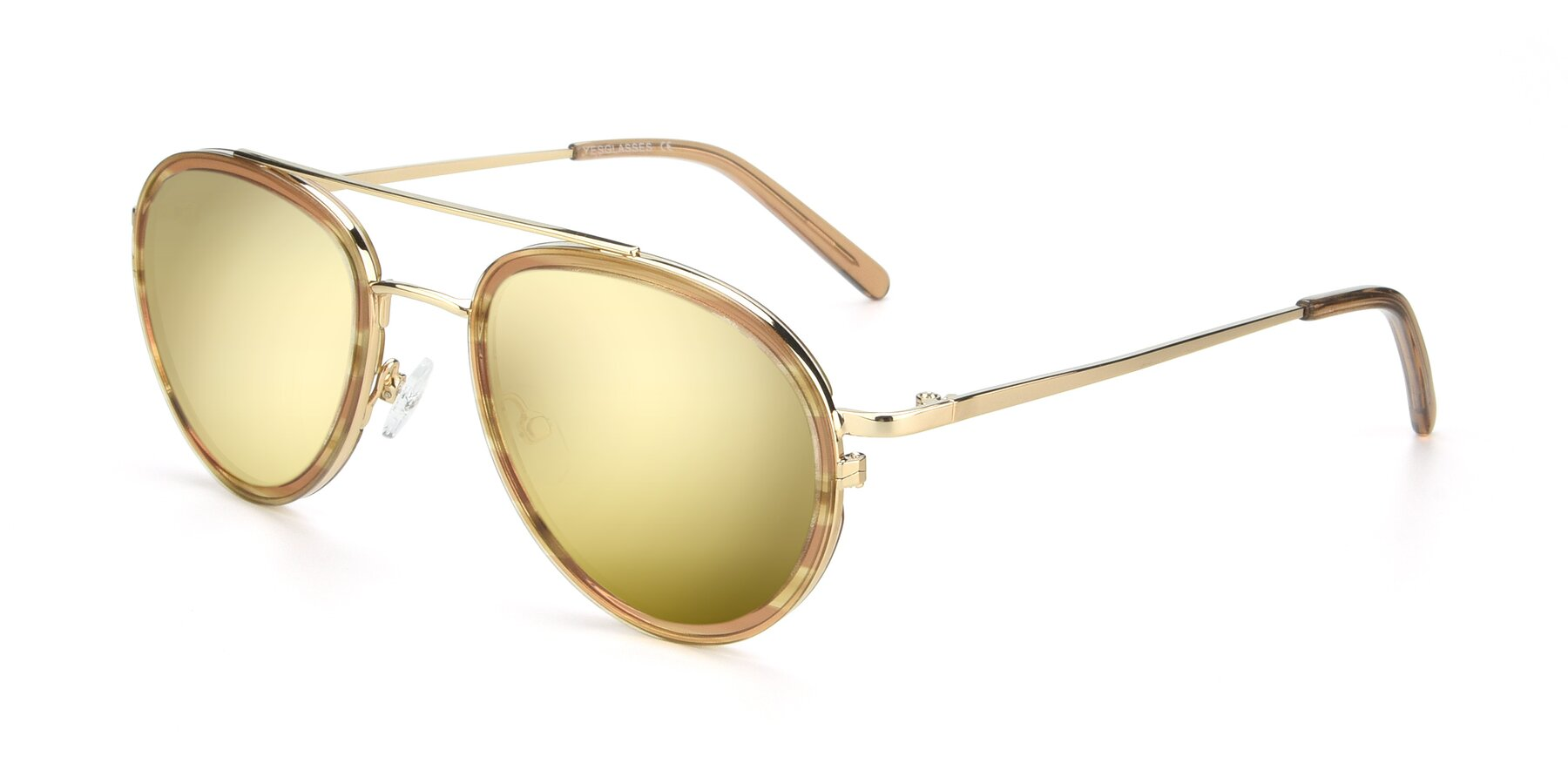 Angle of 9554 in Gold-Caramel with Gold Mirrored Lenses