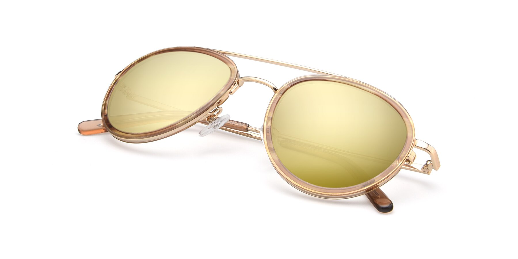 View of 9554 in Gold-Caramel with Gold Mirrored Lenses