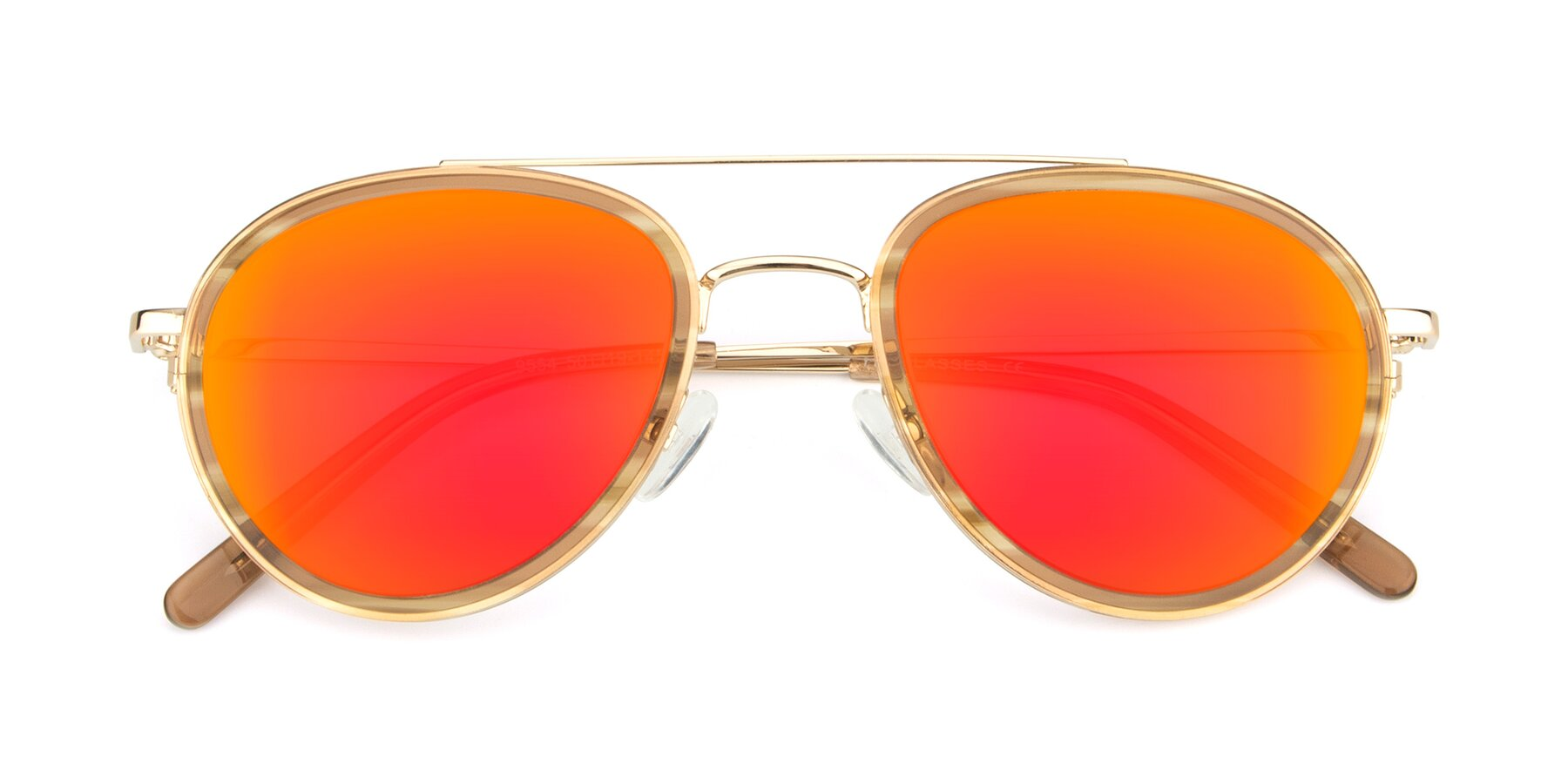 Folded Front of 9554 in Gold-Caramel with Red Gold Mirrored Lenses