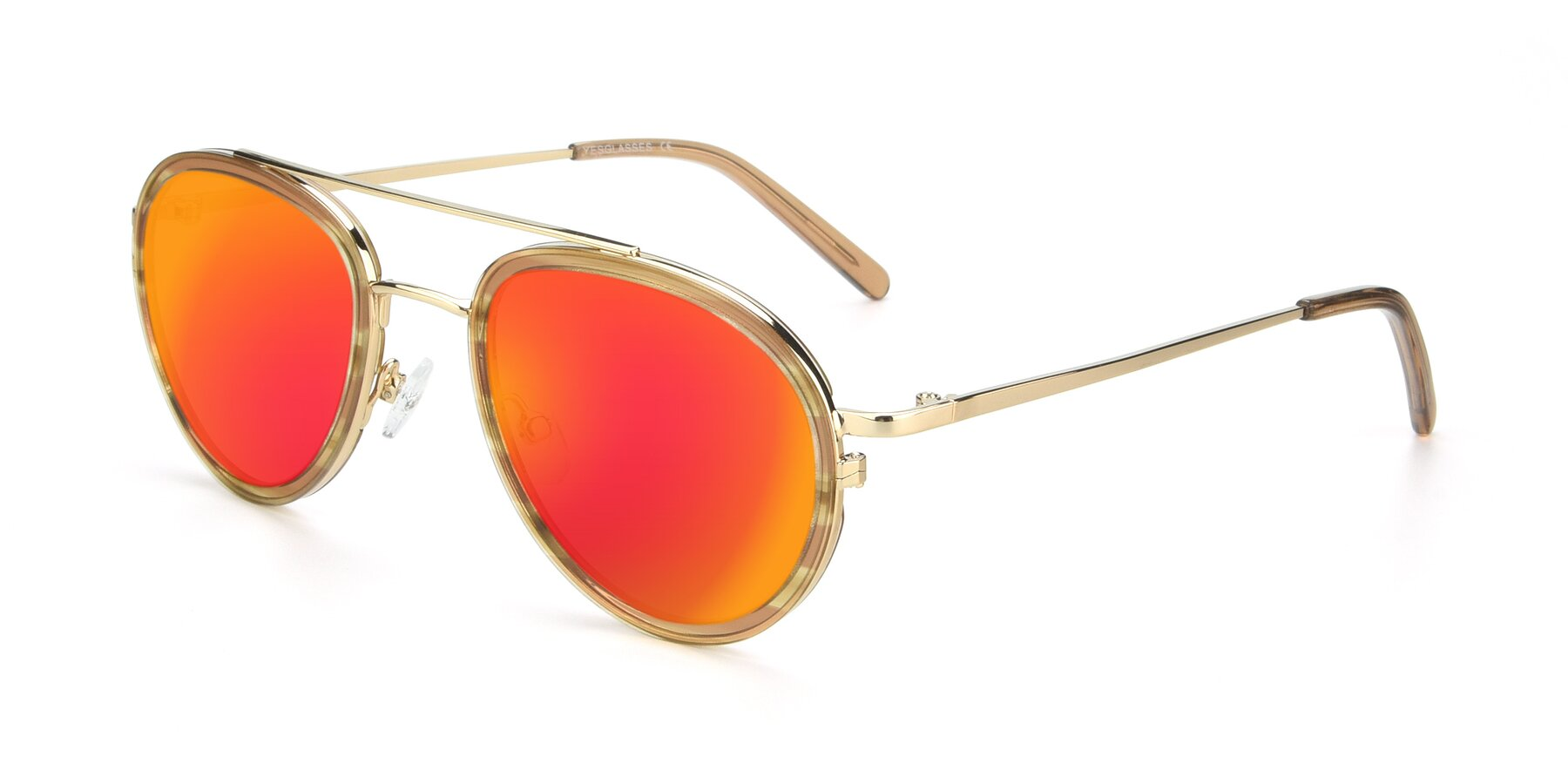 Angle of 9554 in Gold-Caramel with Red Gold Mirrored Lenses