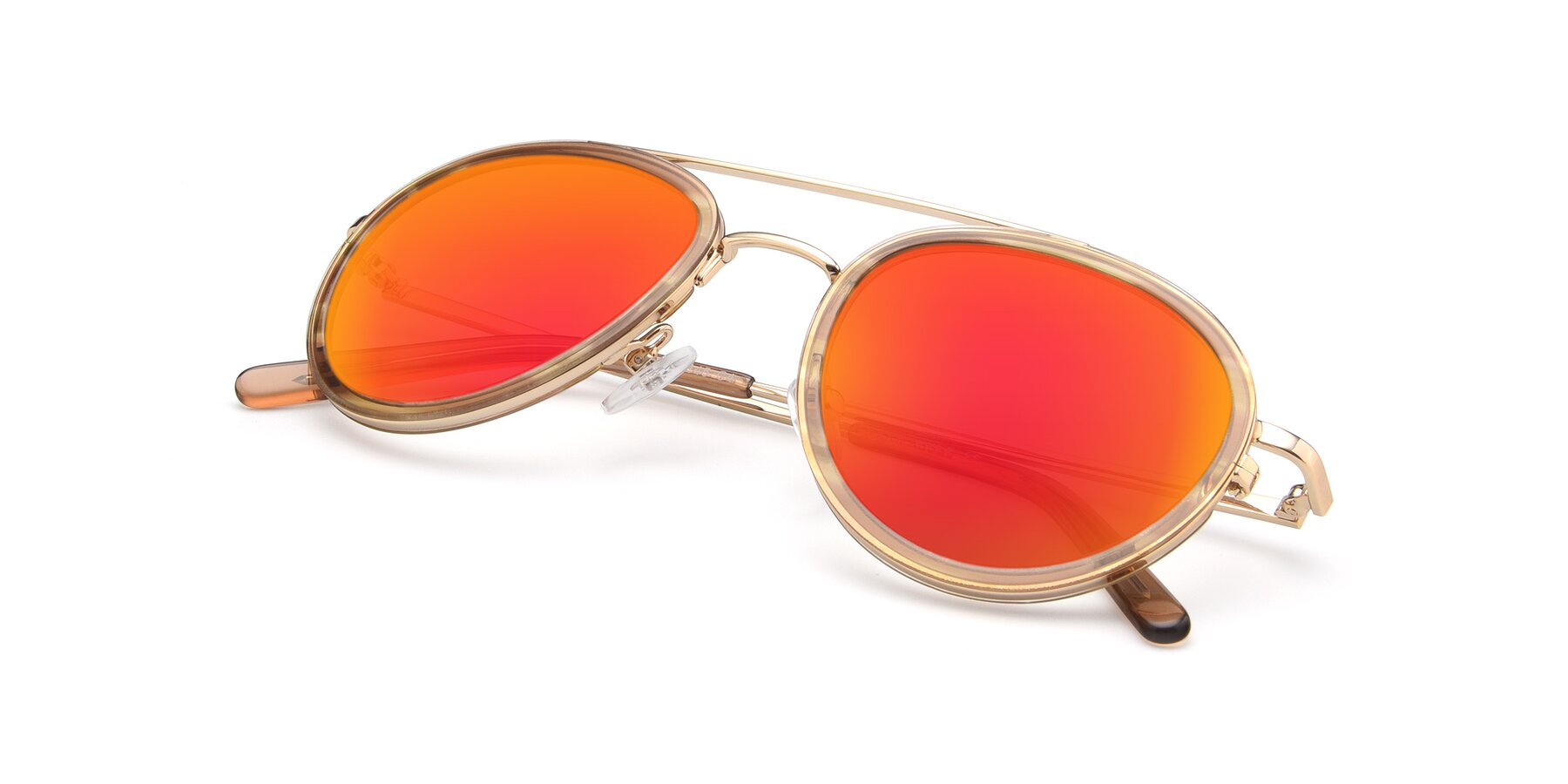 View of 9554 in Gold-Caramel with Red Gold Mirrored Lenses