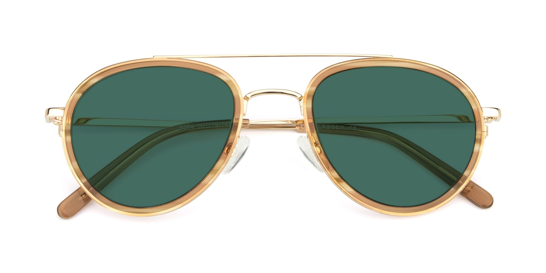 Folded Front of 9554 in Gold-Caramel with Green Polarized Lenses