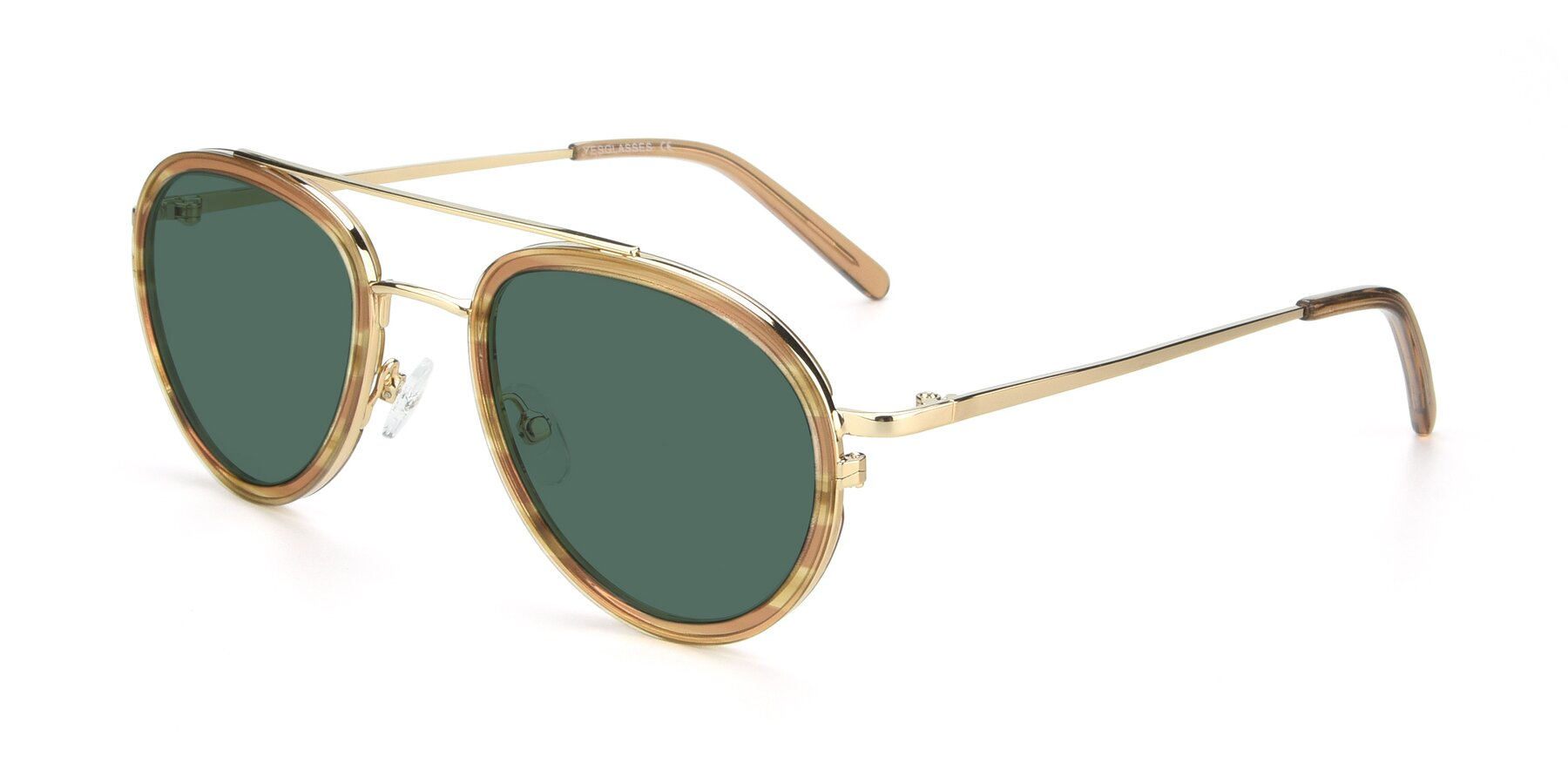 Angle of 9554 in Gold-Caramel with Green Polarized Lenses