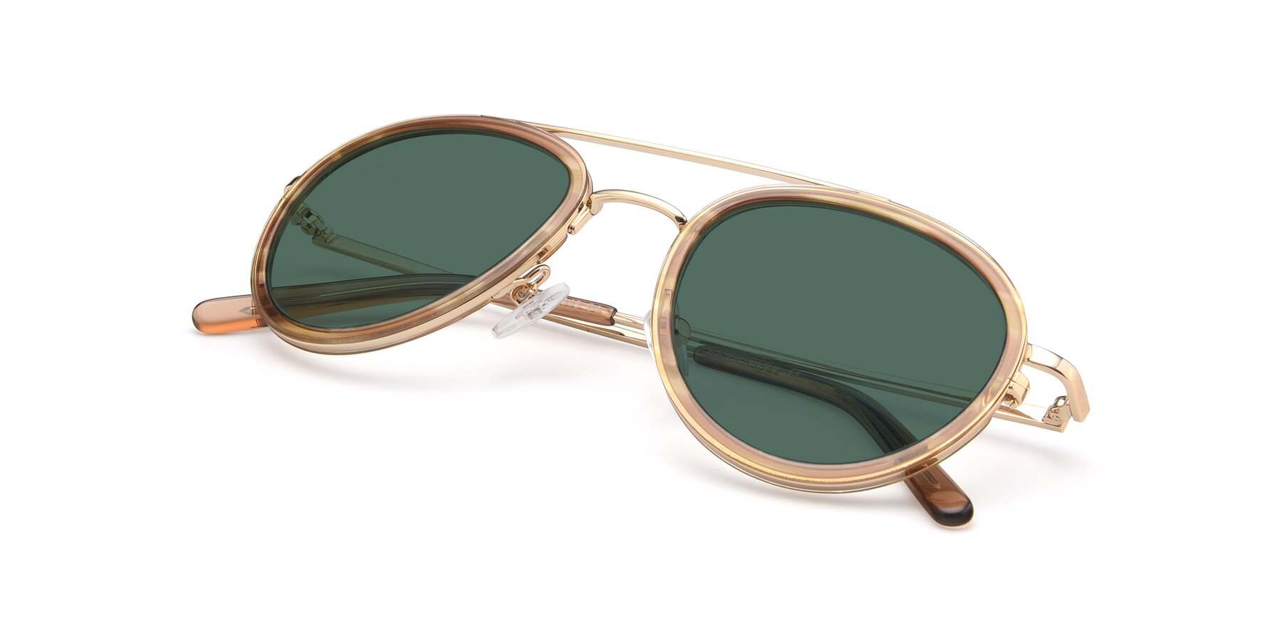 View of 9554 in Gold-Caramel with Green Polarized Lenses