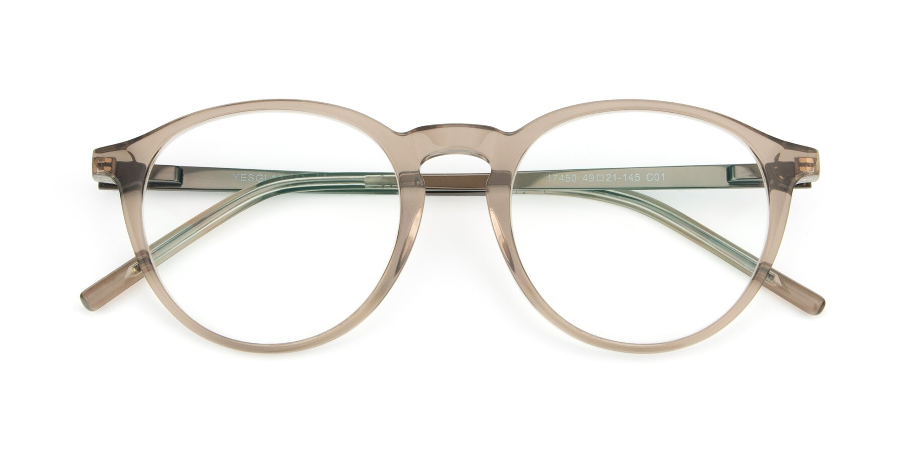 Folded Front of 17450 in Transparent Brown with Clear Eyeglass Lenses