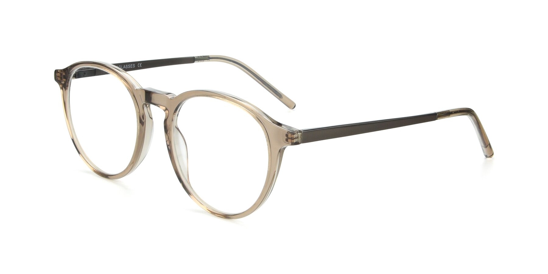 Angle of 17450 in Transparent Brown with Clear Eyeglass Lenses