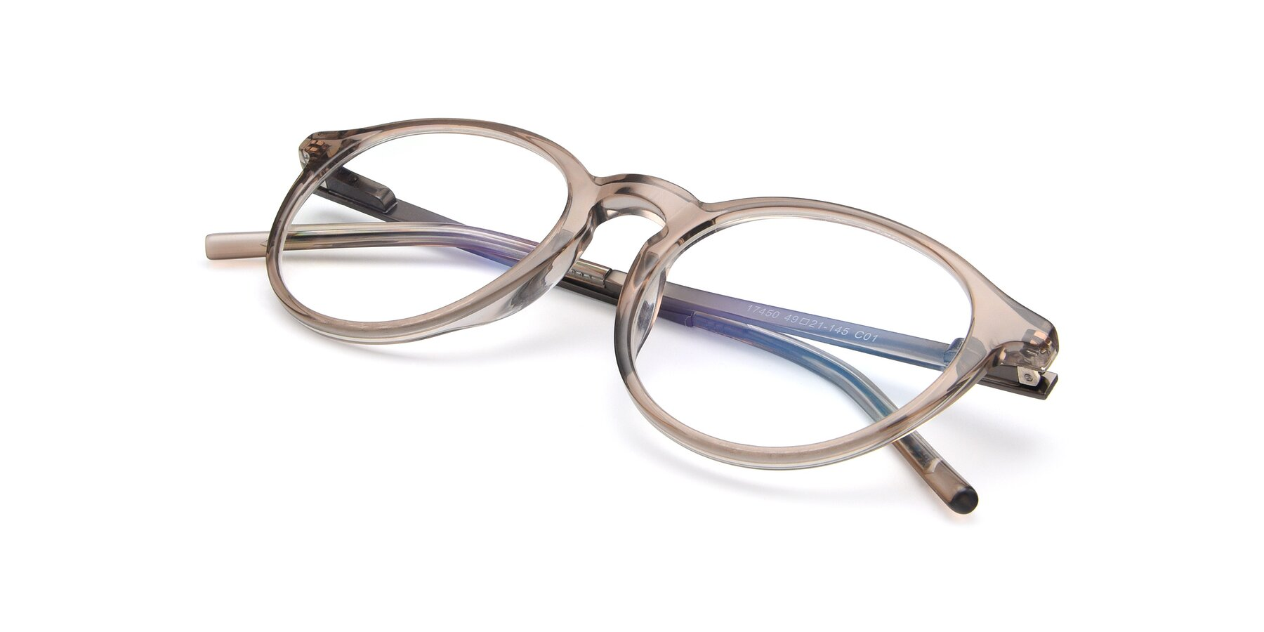 View of 17450 in Transparent Brown with Clear Eyeglass Lenses