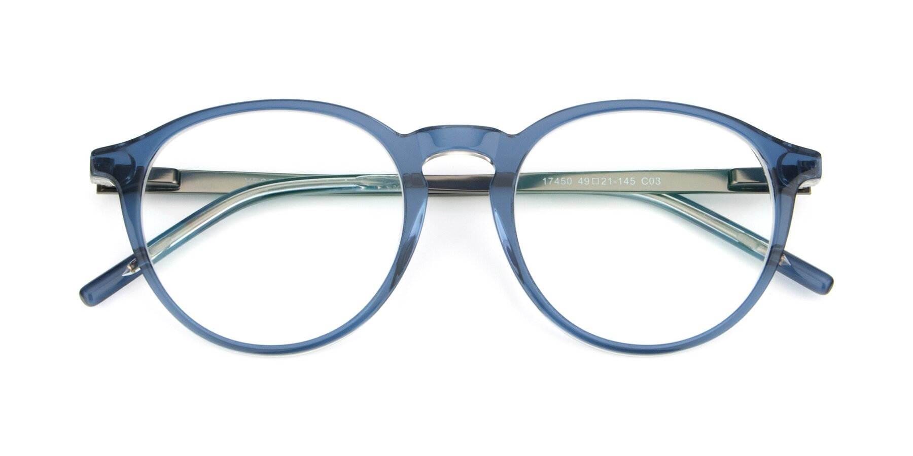 Folded Front of 17450 in Blue with Clear Eyeglass Lenses