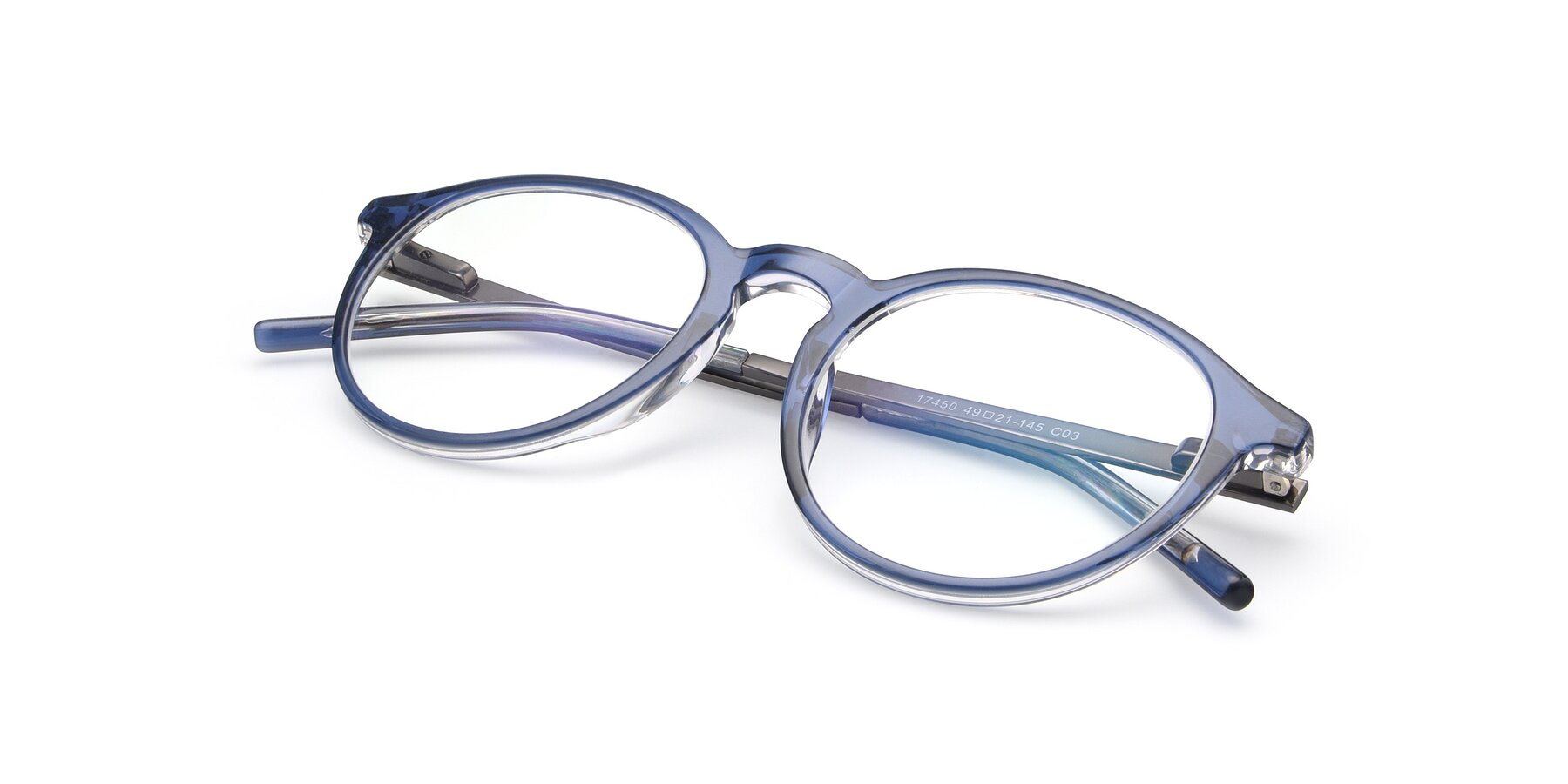 View of 17450 in Blue with Clear Eyeglass Lenses
