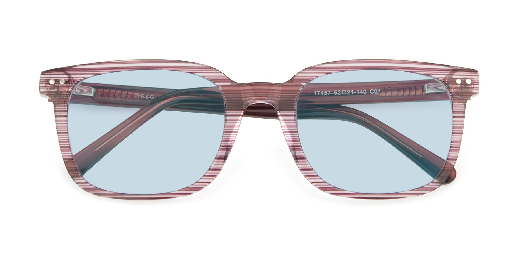 Folded Front of 17457 in Stripe Purple with Light Blue Tinted Lenses