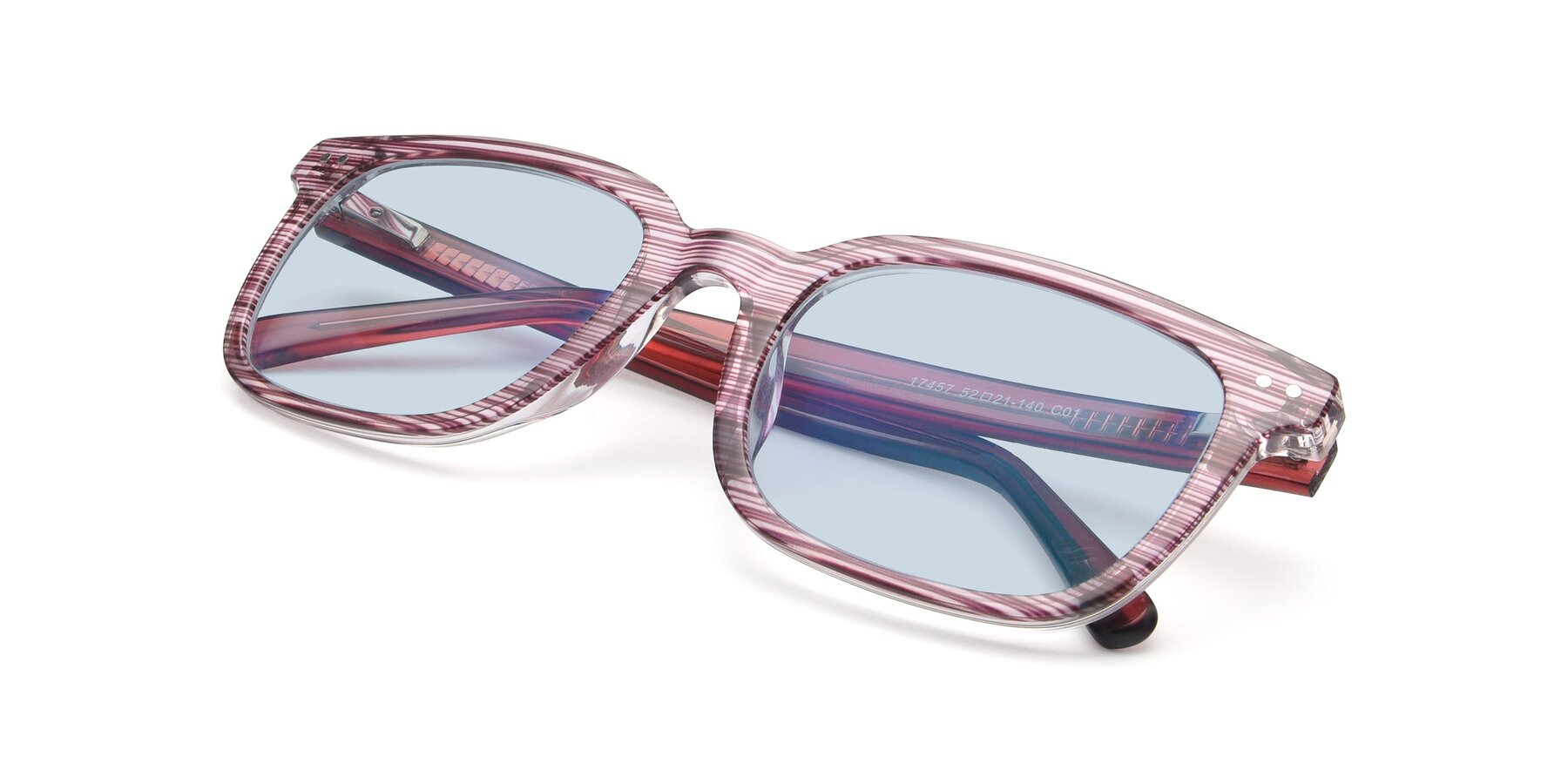 View of 17457 in Stripe Purple with Light Blue Tinted Lenses
