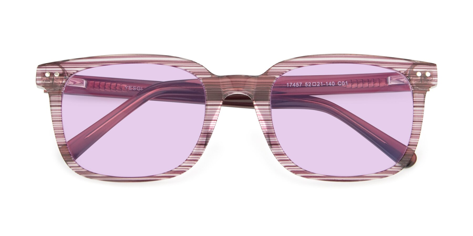 Folded Front of 17457 in Stripe Purple with Light Purple Tinted Lenses