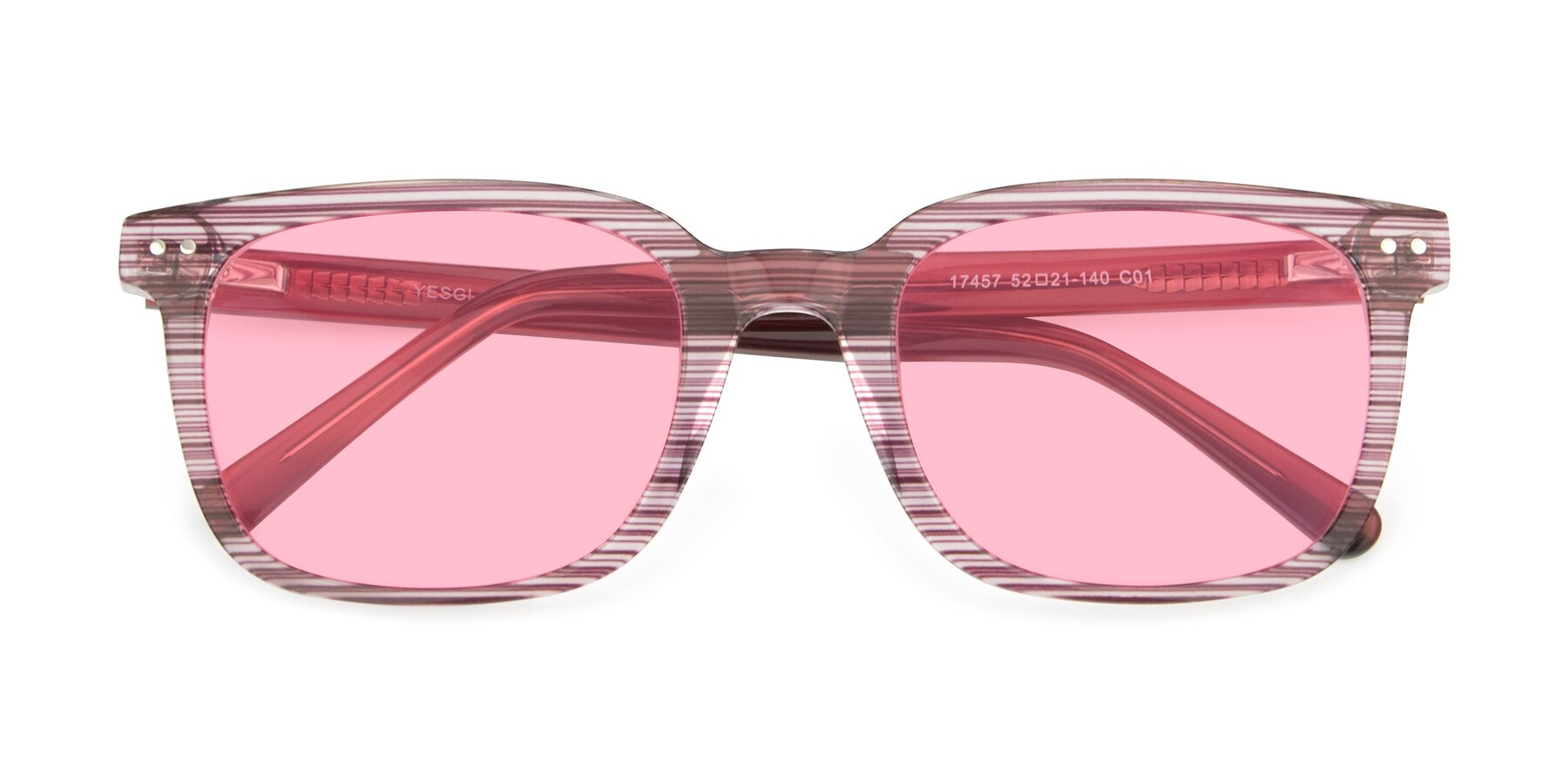 Folded Front of 17457 in Stripe Purple with Medium Pink Tinted Lenses