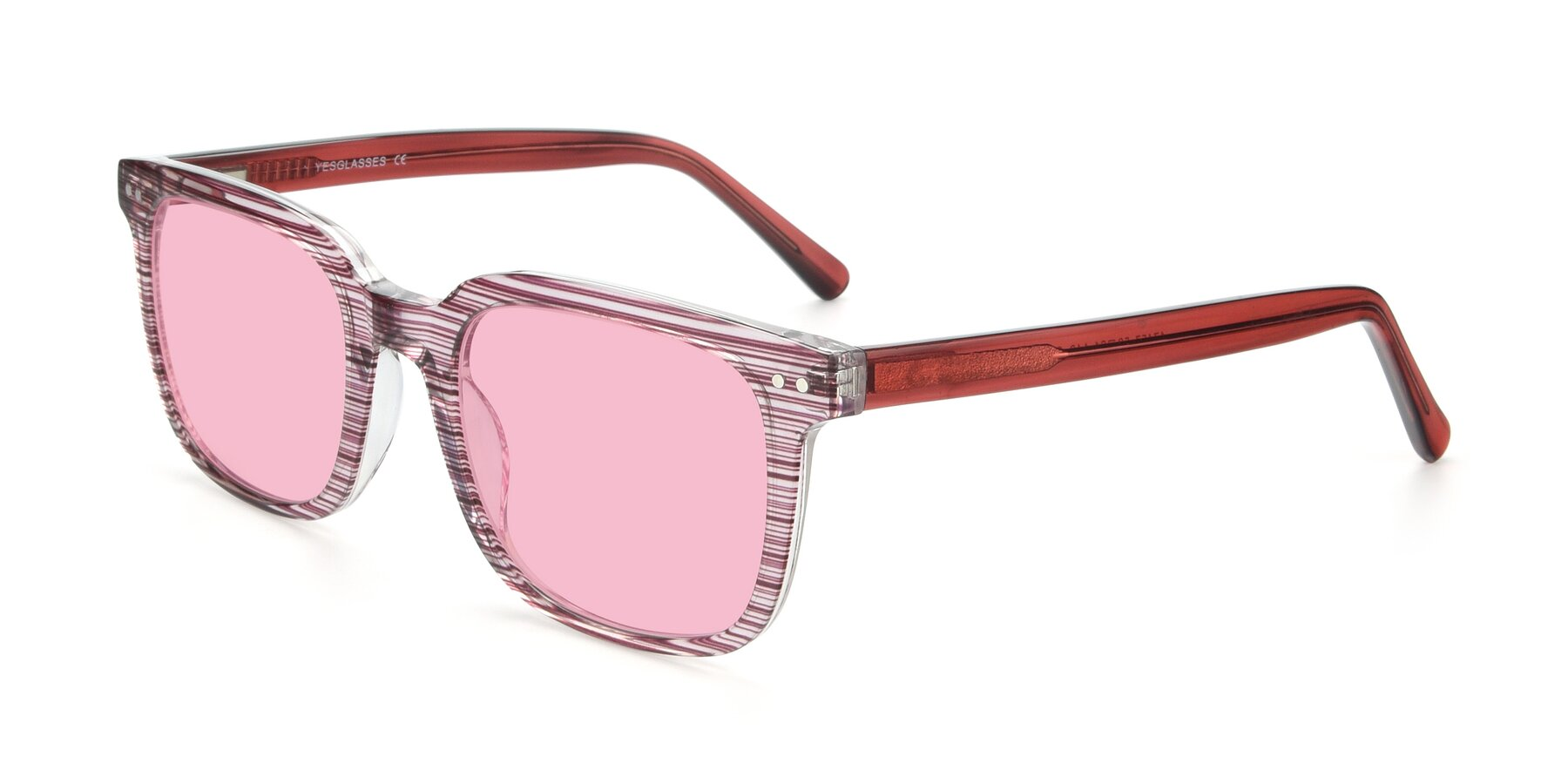 Angle of 17457 in Stripe Purple with Medium Pink Tinted Lenses