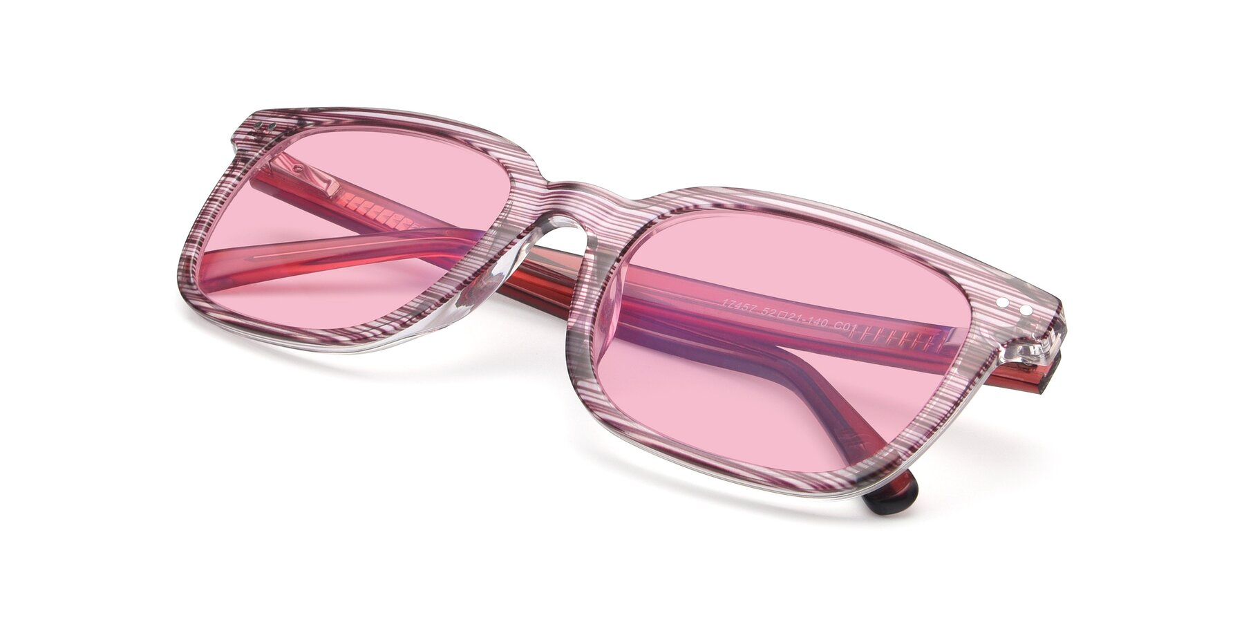 View of 17457 in Stripe Purple with Medium Pink Tinted Lenses