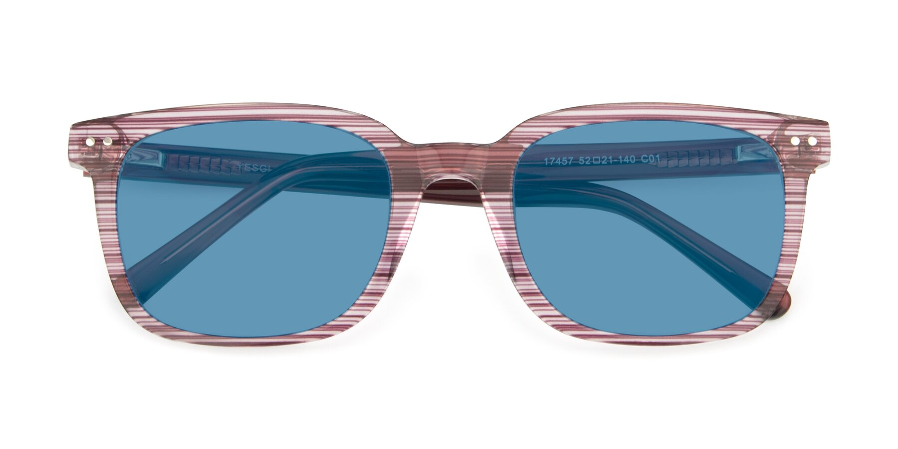 Folded Front of 17457 in Stripe Purple with Medium Blue Tinted Lenses