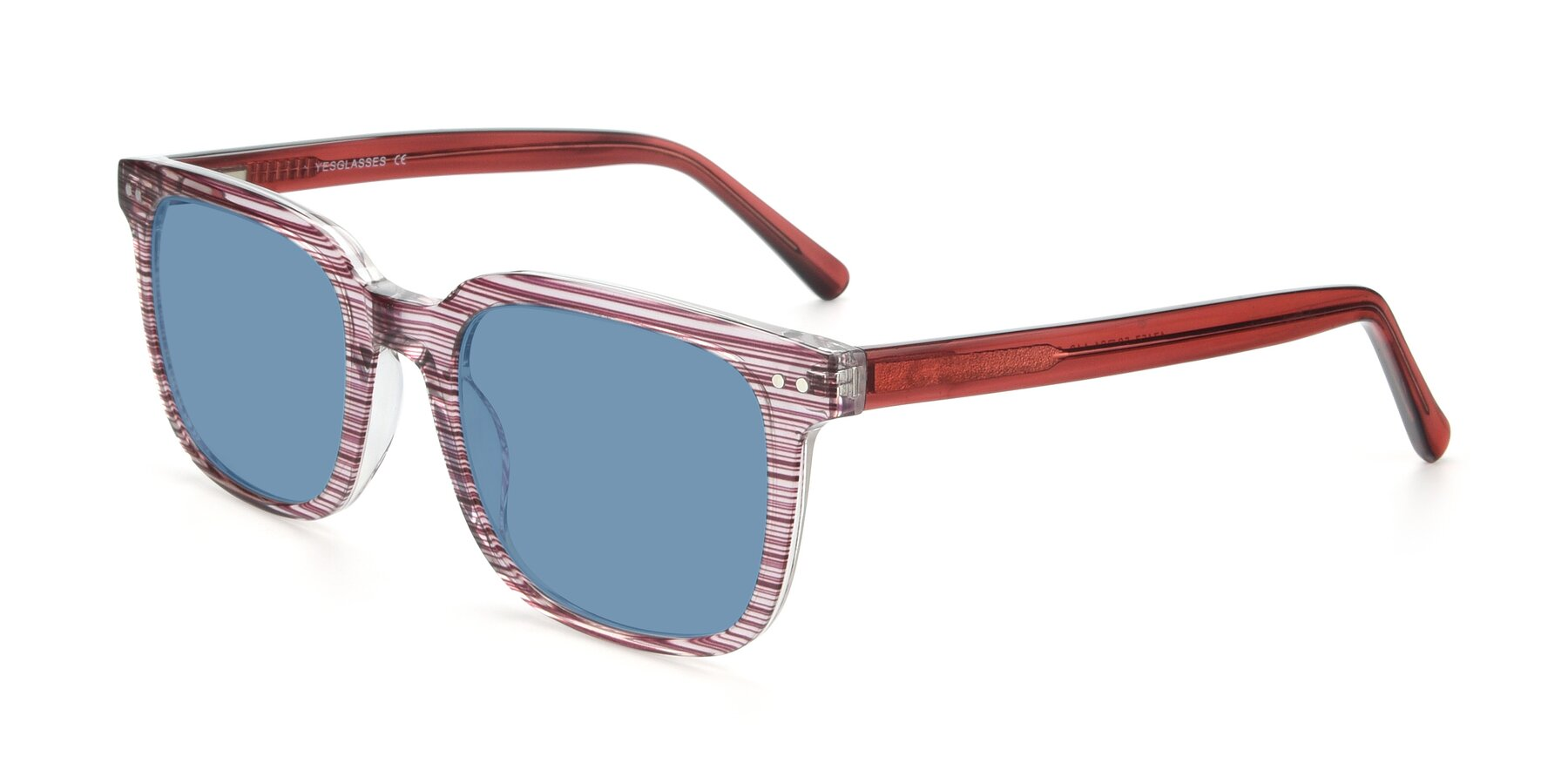 Angle of 17457 in Stripe Purple with Medium Blue Tinted Lenses