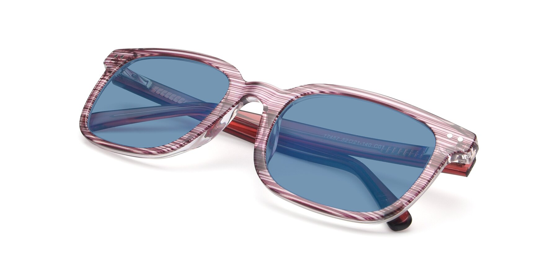 View of 17457 in Stripe Purple with Medium Blue Tinted Lenses
