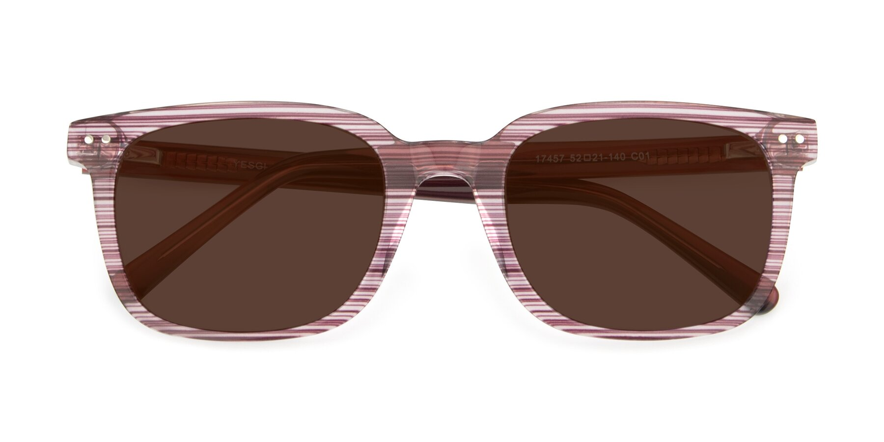 Folded Front of 17457 in Stripe Purple with Brown Tinted Lenses